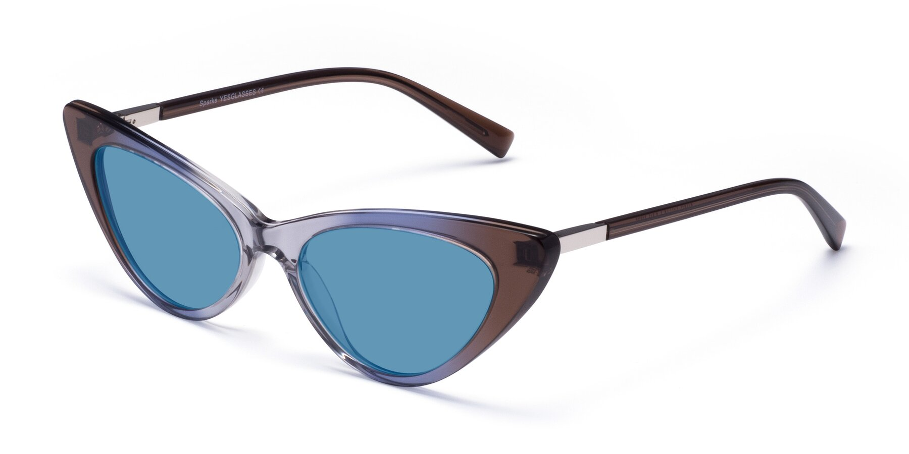 Angle of Sparks in Transparent Gradient Brown with Medium Blue Tinted Lenses