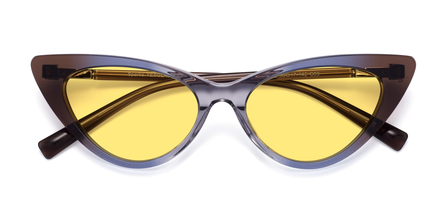 Folded Front of Sparks in Transparent Gradient Brown with Medium Yellow Tinted Lenses