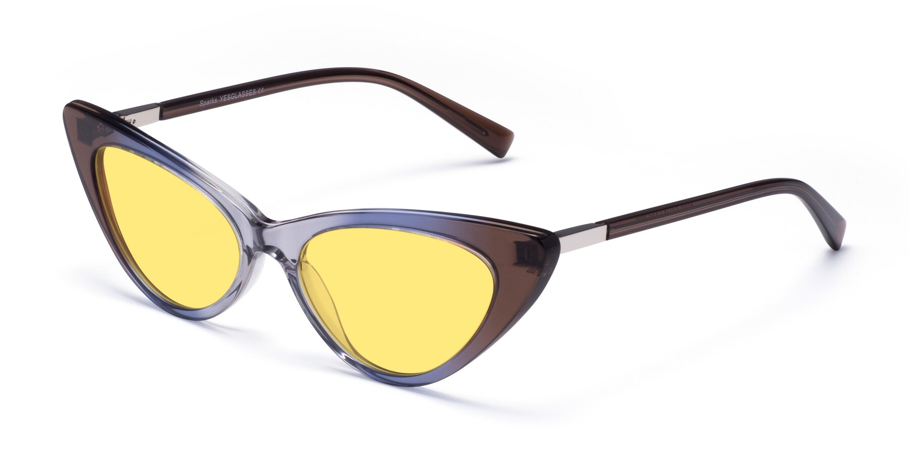 Angle of Sparks in Transparent Gradient Brown with Medium Yellow Tinted Lenses