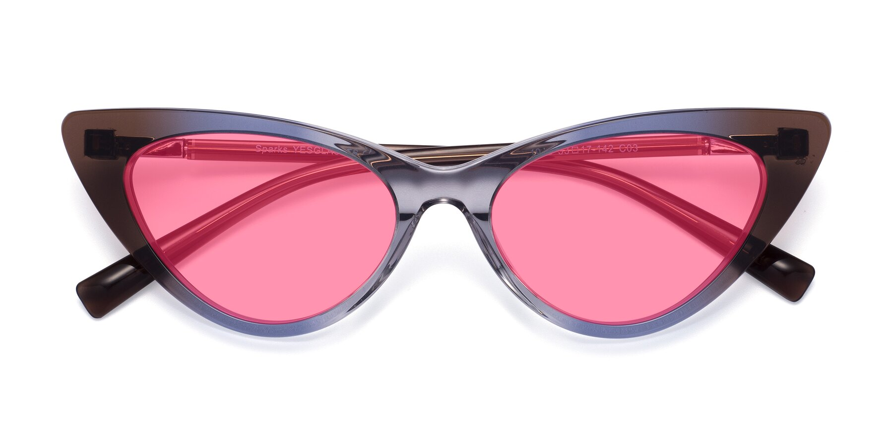 Folded Front of Sparks in Transparent Gradient Brown with Pink Tinted Lenses