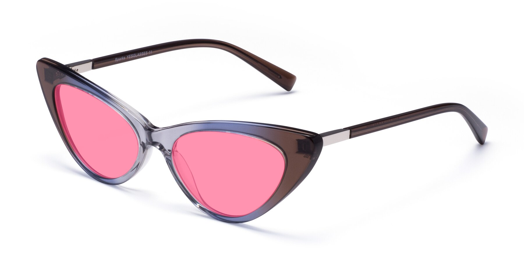 Angle of Sparks in Transparent Gradient Brown with Pink Tinted Lenses