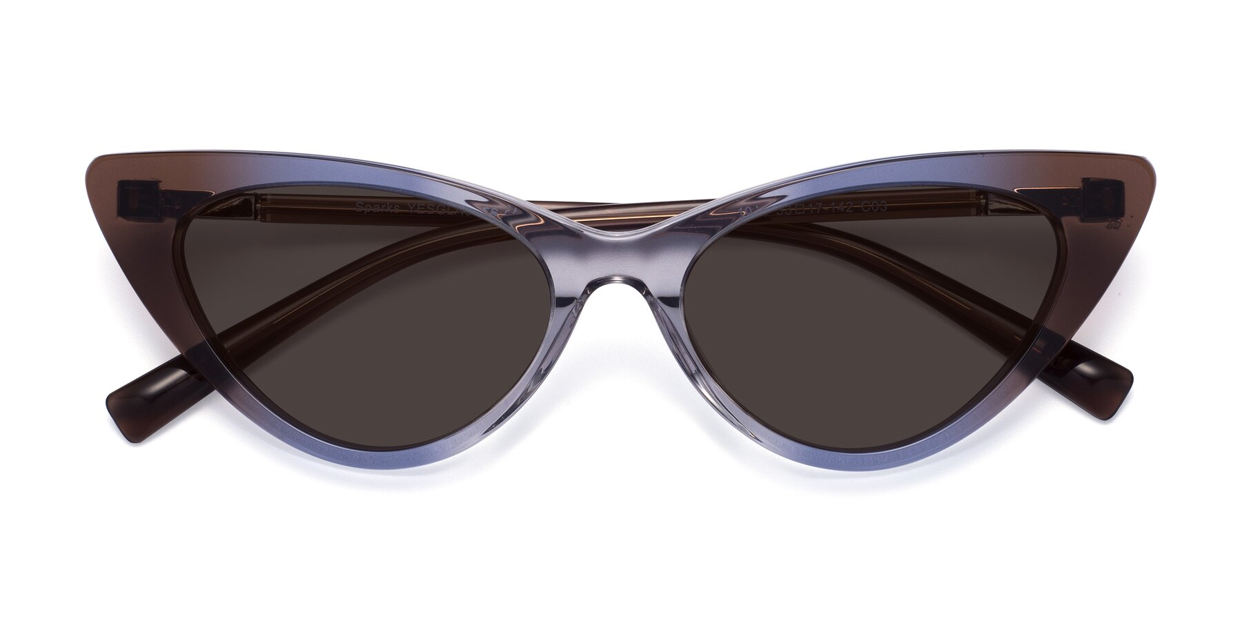 Folded Front of Sparks in Transparent Gradient Brown with Gray Tinted Lenses