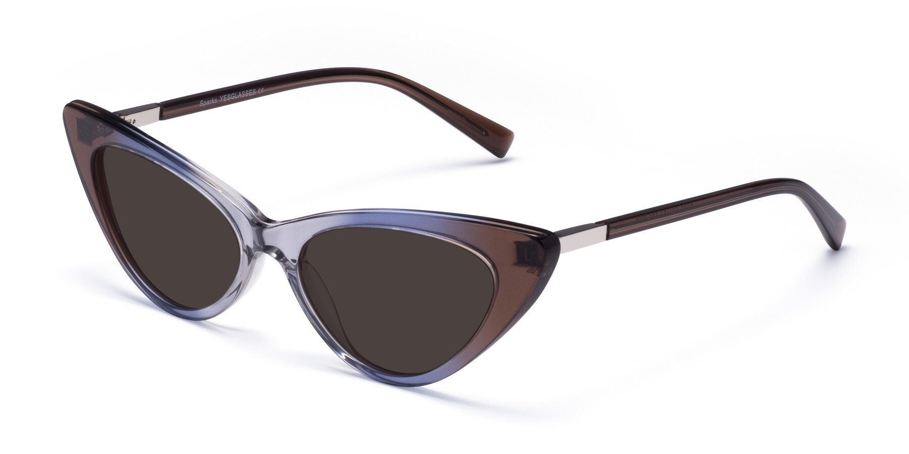 Angle of Sparks in Transparent Gradient Brown with Gray Tinted Lenses
