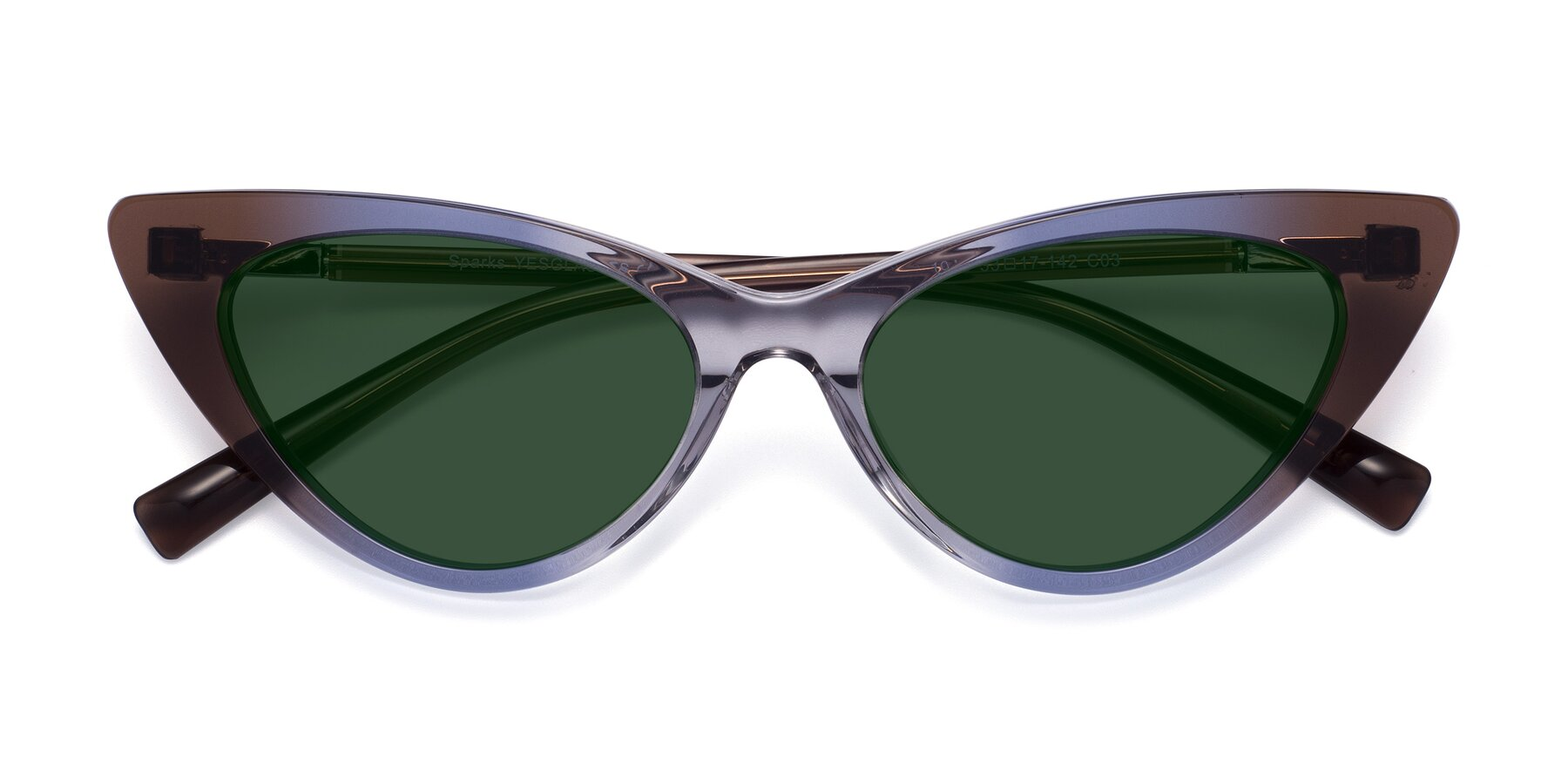 Folded Front of Sparks in Transparent Gradient Brown with Green Tinted Lenses