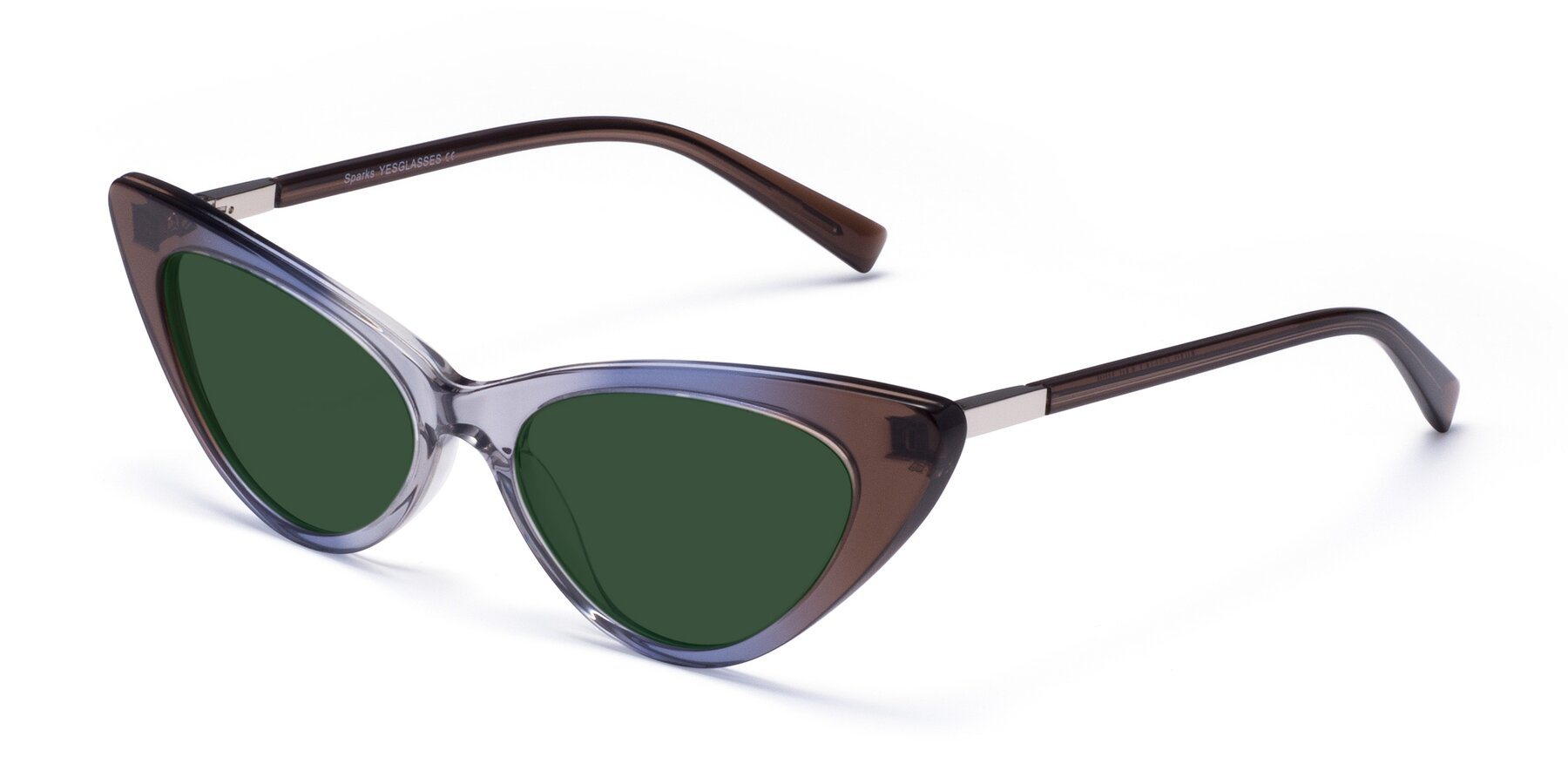 Angle of Sparks in Transparent Gradient Brown with Green Tinted Lenses