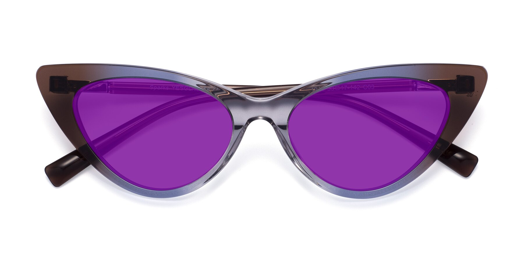 Folded Front of Sparks in Transparent Gradient Brown with Purple Tinted Lenses