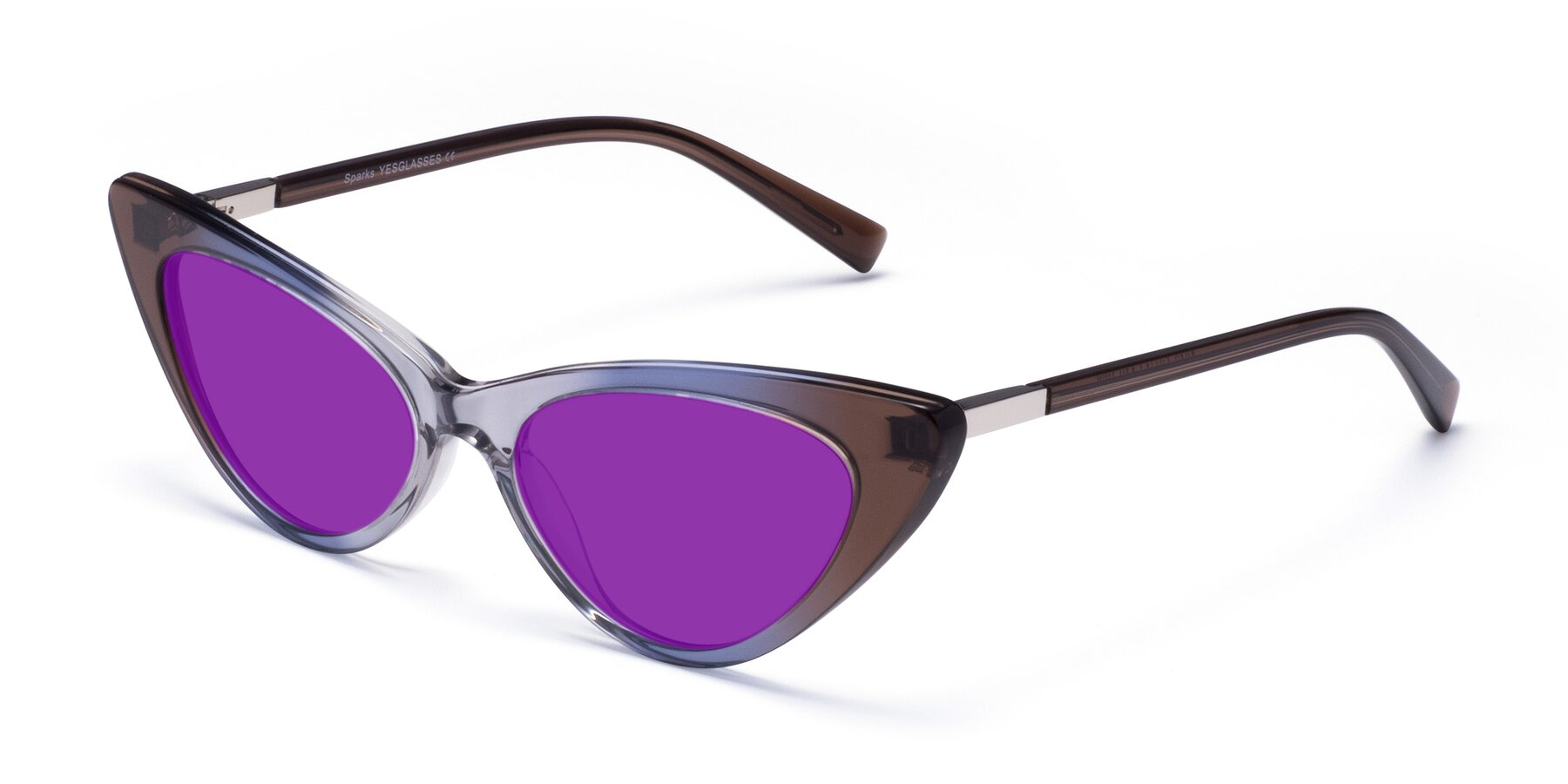 Angle of Sparks in Transparent Gradient Brown with Purple Tinted Lenses