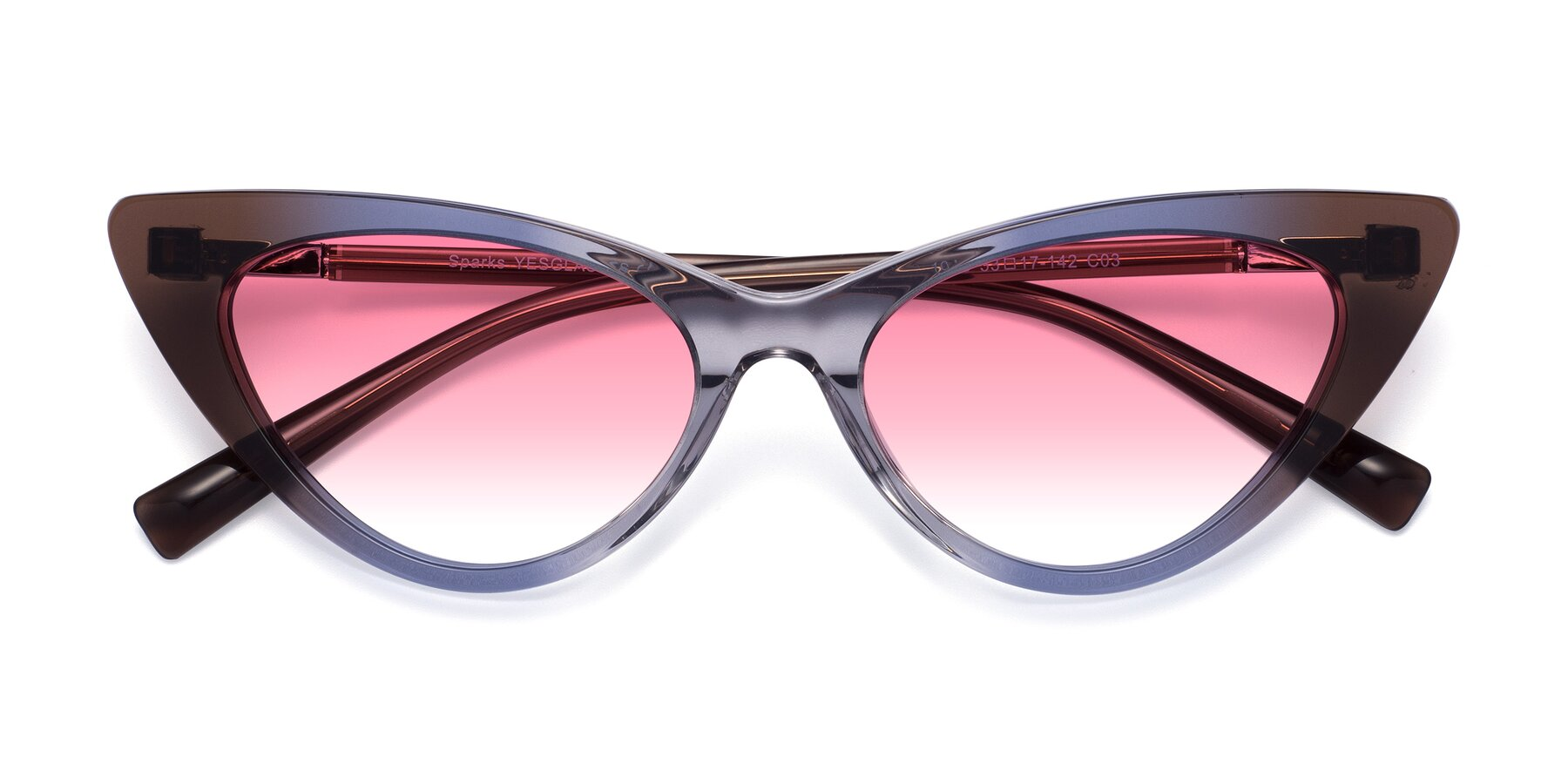 Folded Front of Sparks in Transparent Gradient Brown with Pink Gradient Lenses