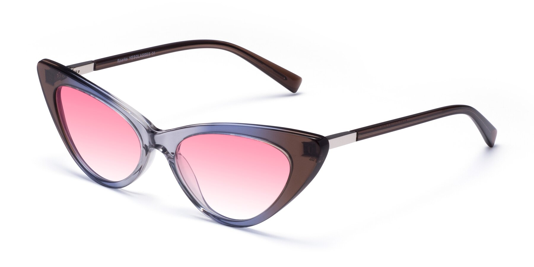 Angle of Sparks in Transparent Gradient Brown with Pink Gradient Lenses