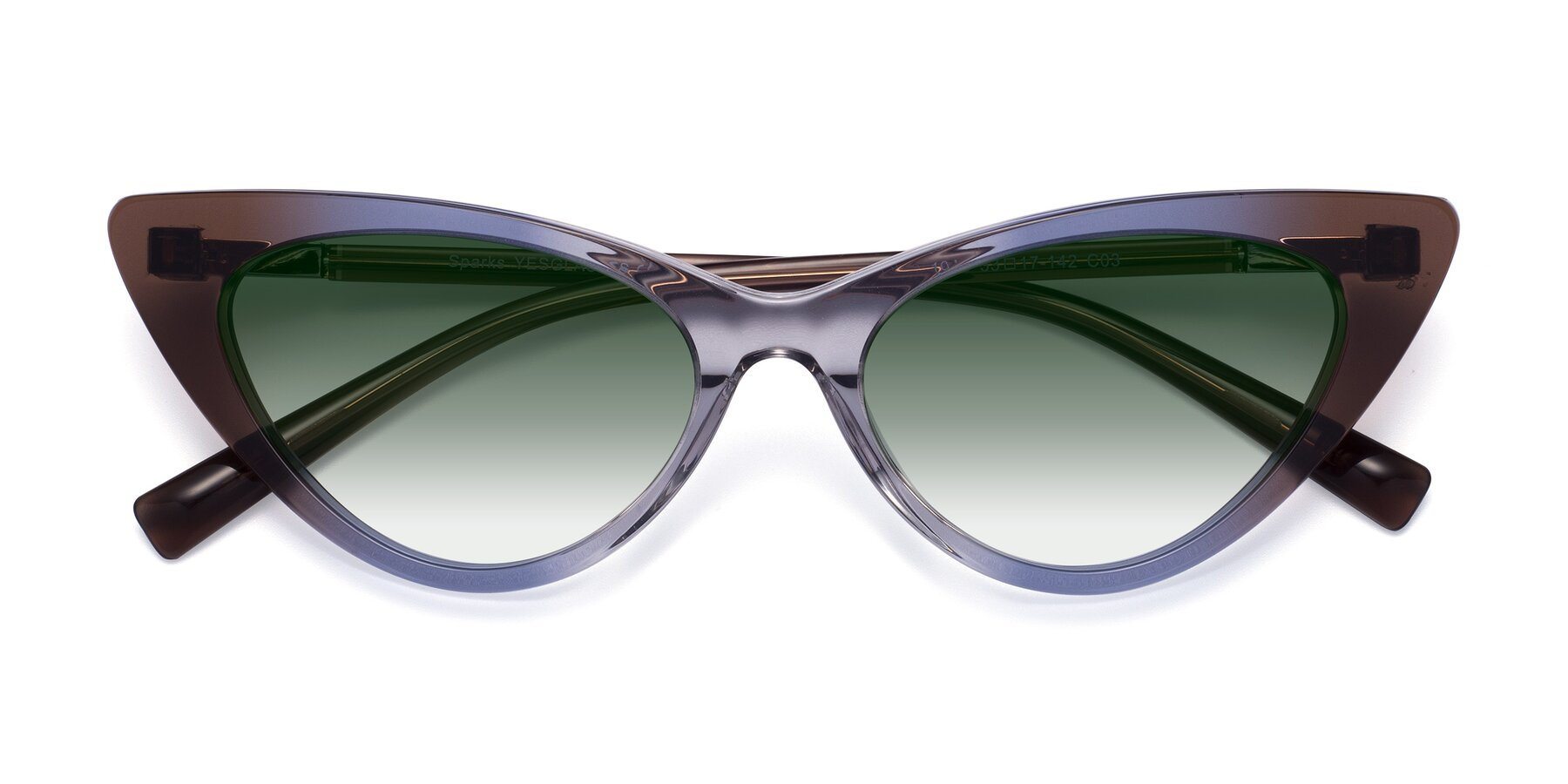 Folded Front of Sparks in Transparent Gradient Brown with Green Gradient Lenses