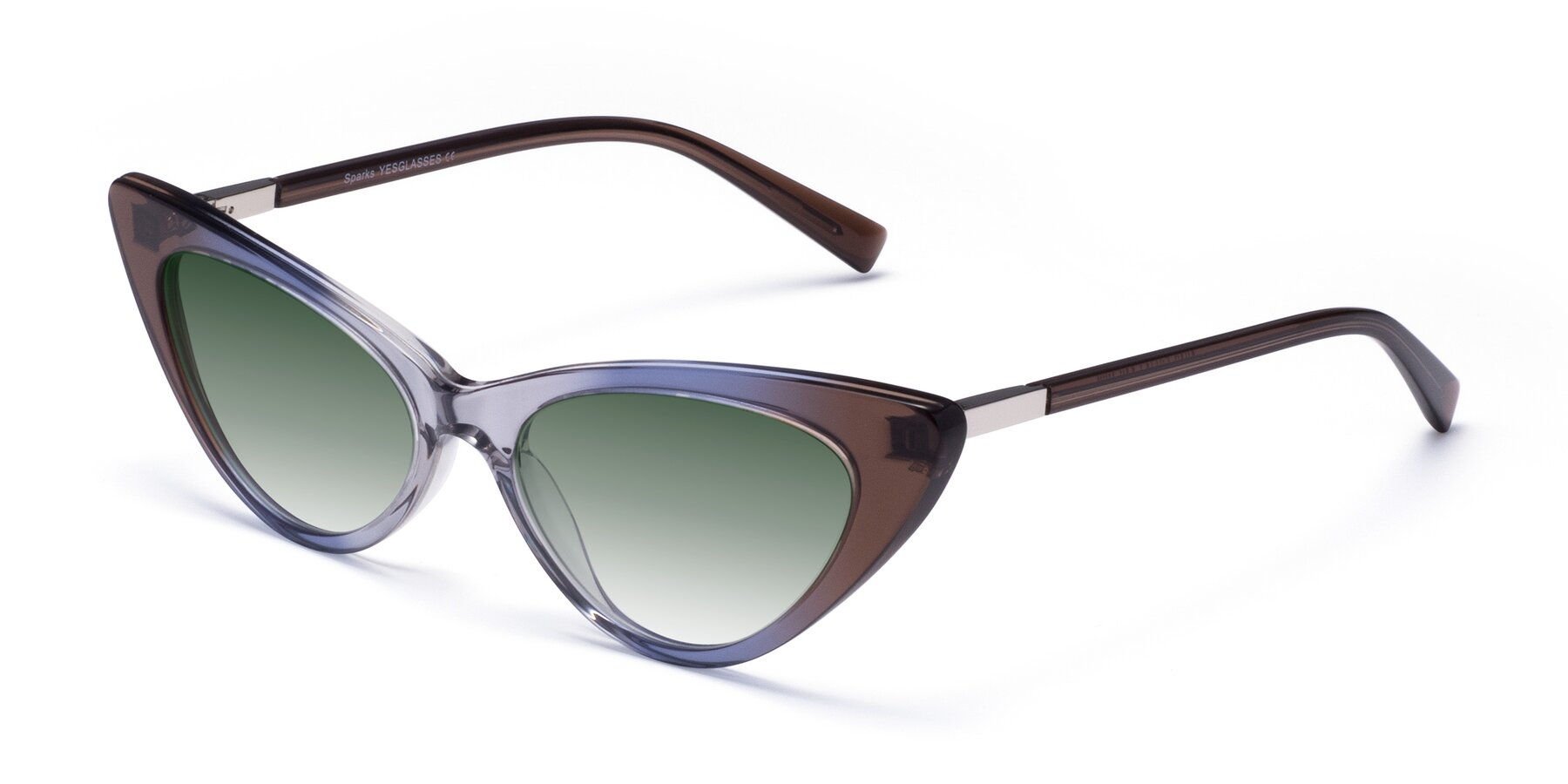 Angle of Sparks in Transparent Gradient Brown with Green Gradient Lenses
