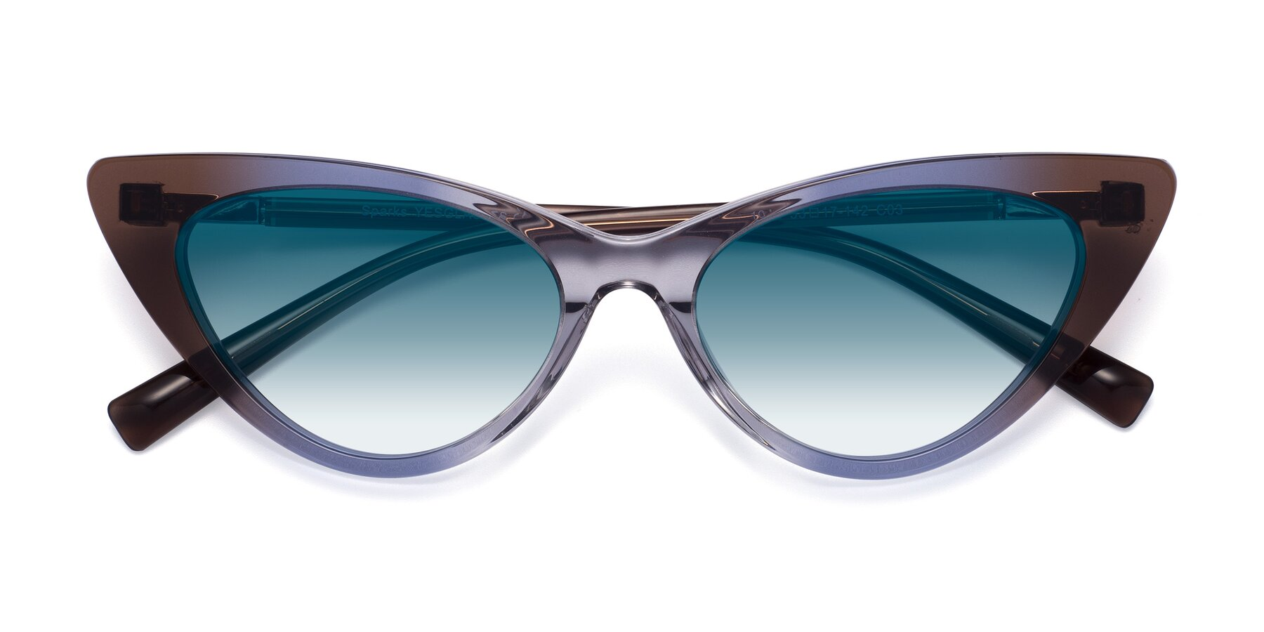 Folded Front of Sparks in Transparent Gradient Brown with Blue Gradient Lenses