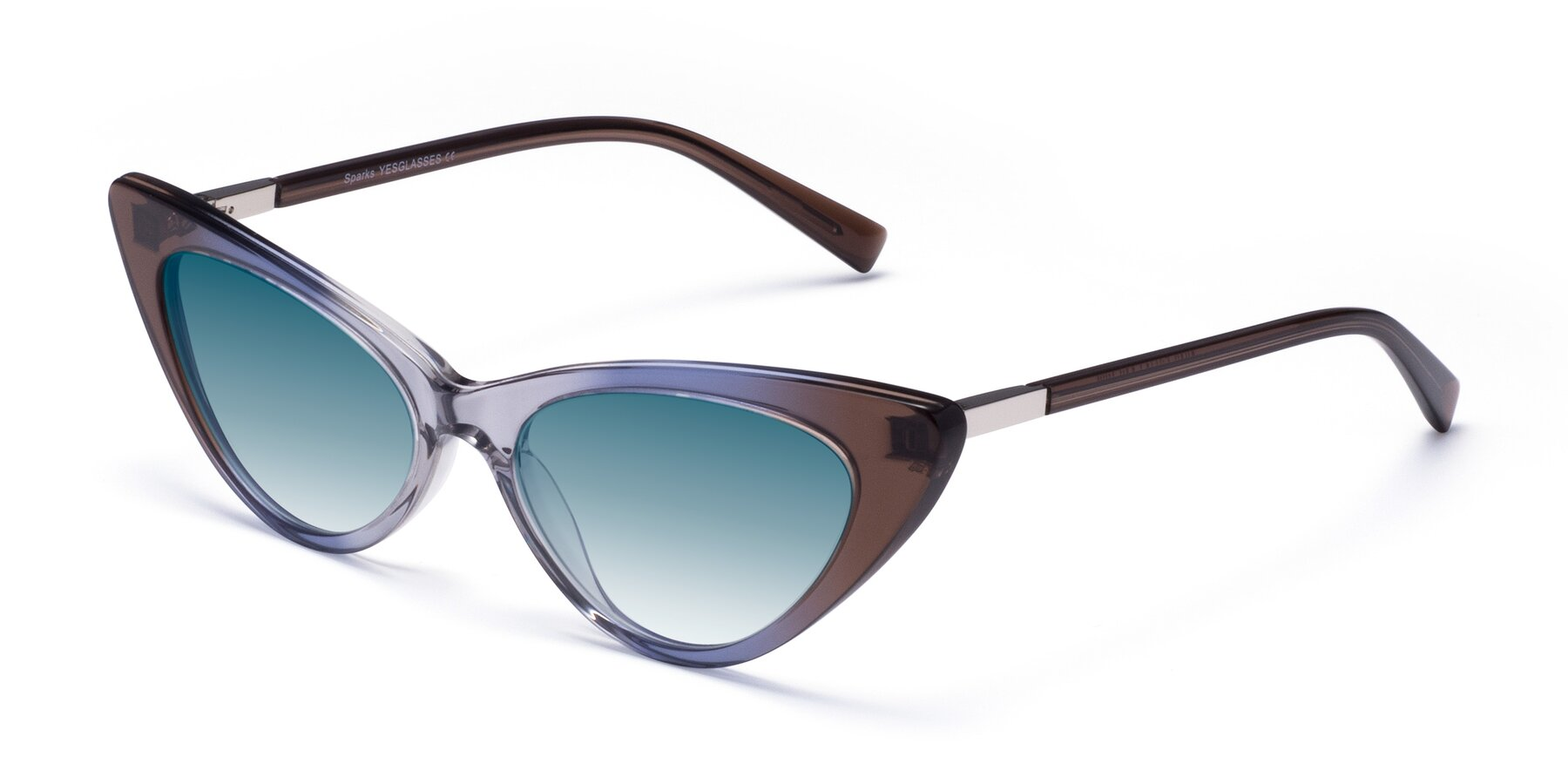 Angle of Sparks in Transparent Gradient Brown with Blue Gradient Lenses