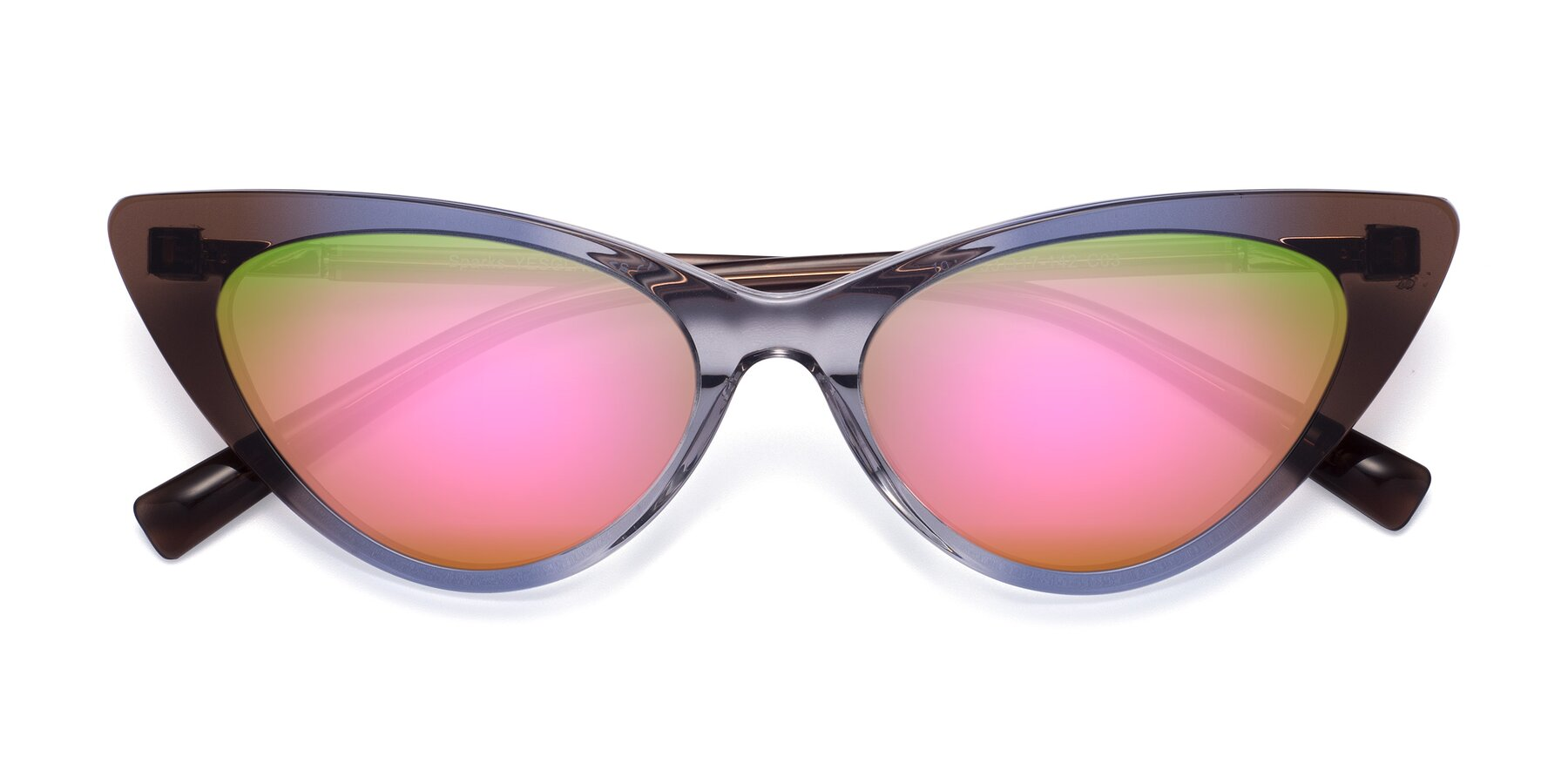 Folded Front of Sparks in Transparent Gradient Brown with Pink Mirrored Lenses