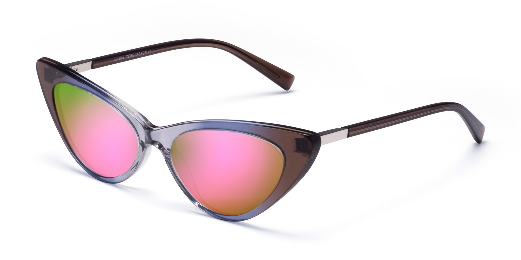 Angle of Sparks in Transparent Gradient Brown with Pink Mirrored Lenses