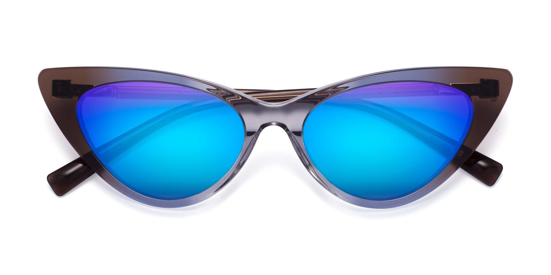 Folded Front of Sparks in Transparent Gradient Brown with Blue Mirrored Lenses
