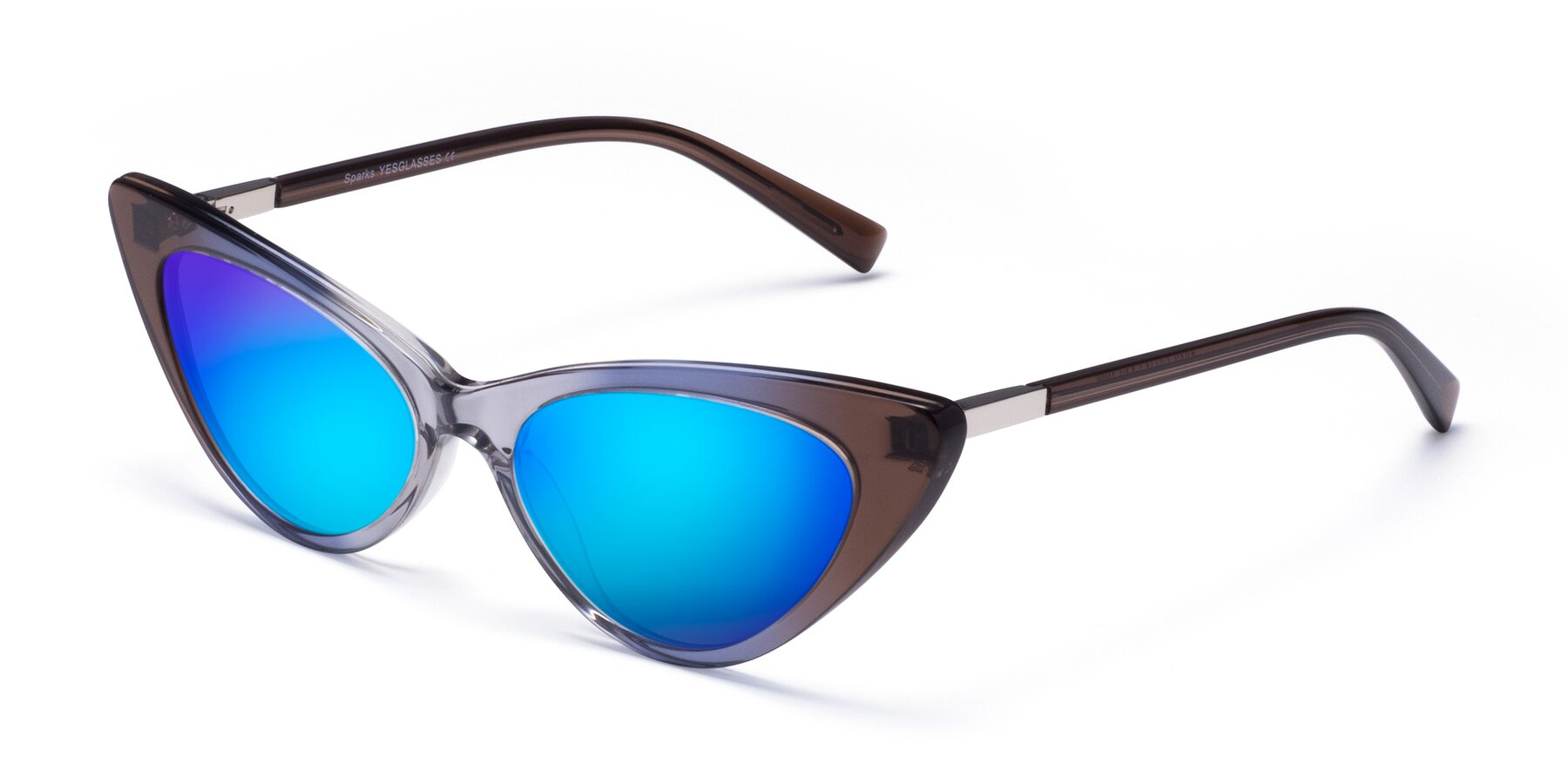 Angle of Sparks in Transparent Gradient Brown with Blue Mirrored Lenses