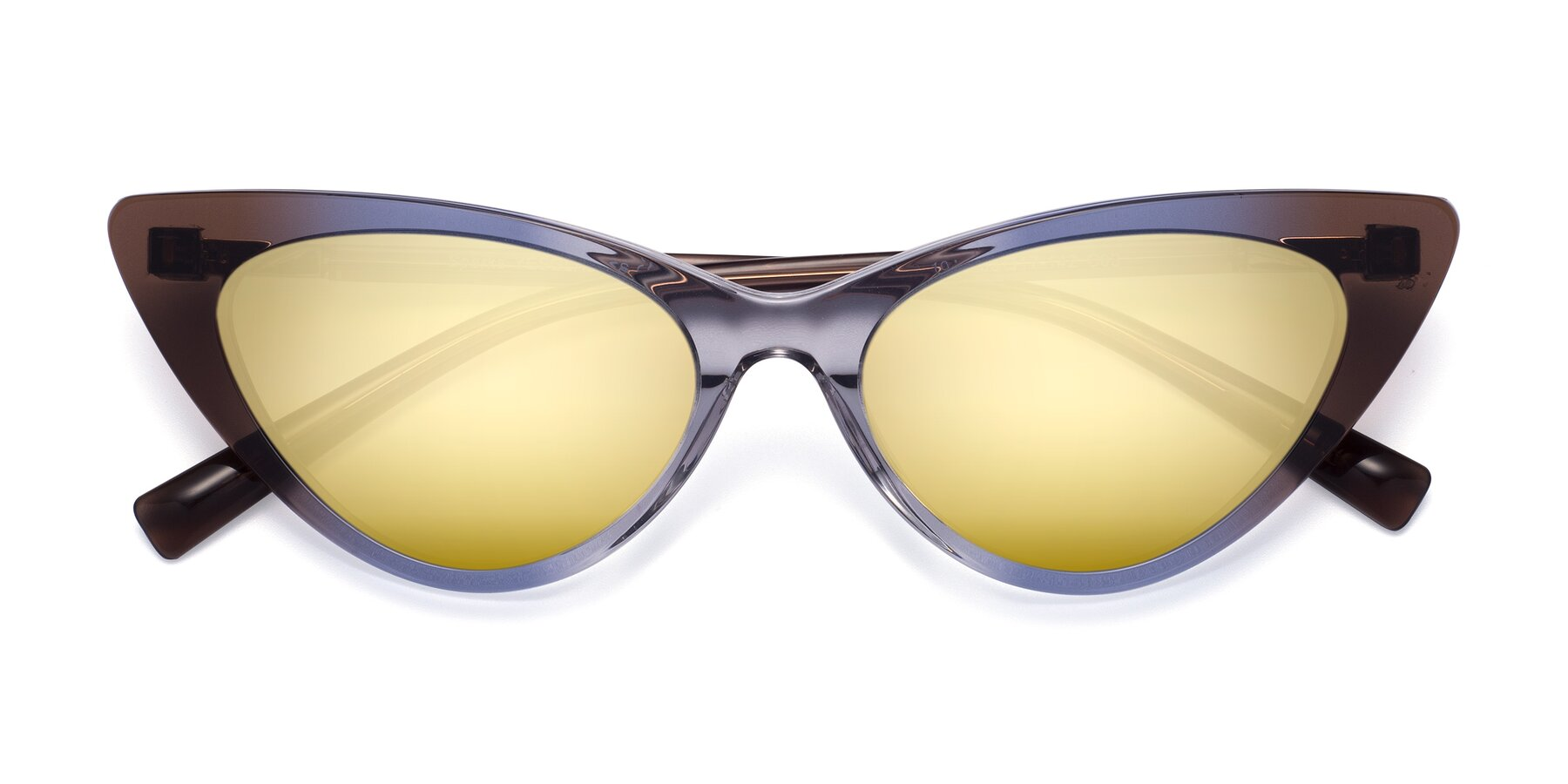 Folded Front of Sparks in Transparent Gradient Brown with Gold Mirrored Lenses