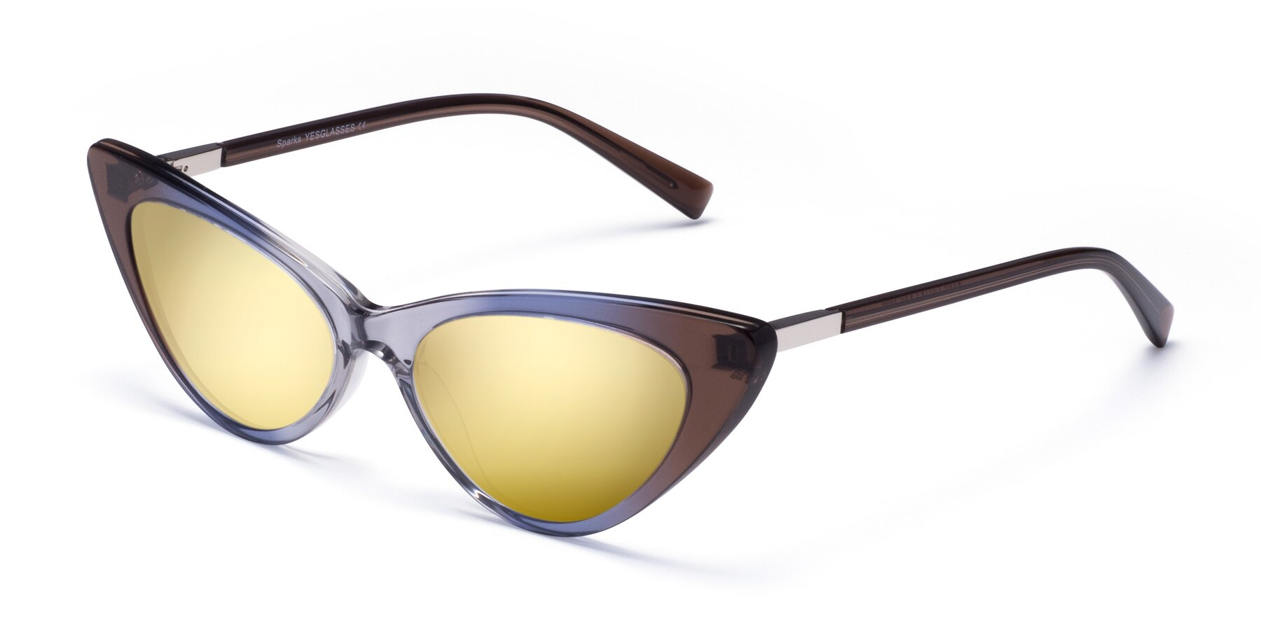 Angle of Sparks in Transparent Gradient Brown with Gold Mirrored Lenses