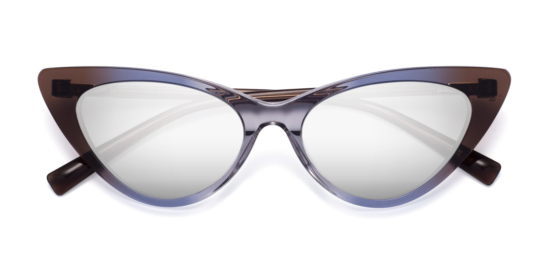 Folded Front of Sparks in Transparent Gradient Brown with Silver Mirrored Lenses
