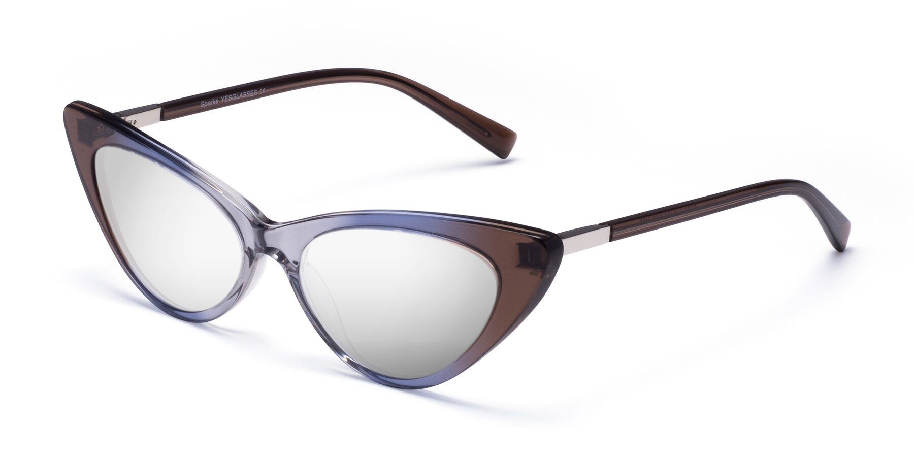 Angle of Sparks in Transparent Gradient Brown with Silver Mirrored Lenses