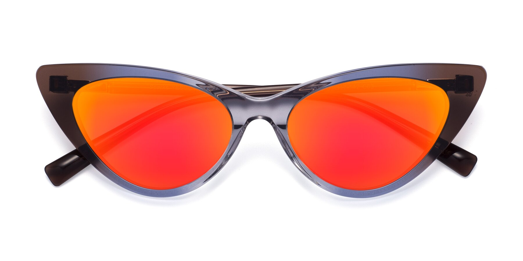 Folded Front of Sparks in Transparent Gradient Brown with Red Gold Mirrored Lenses