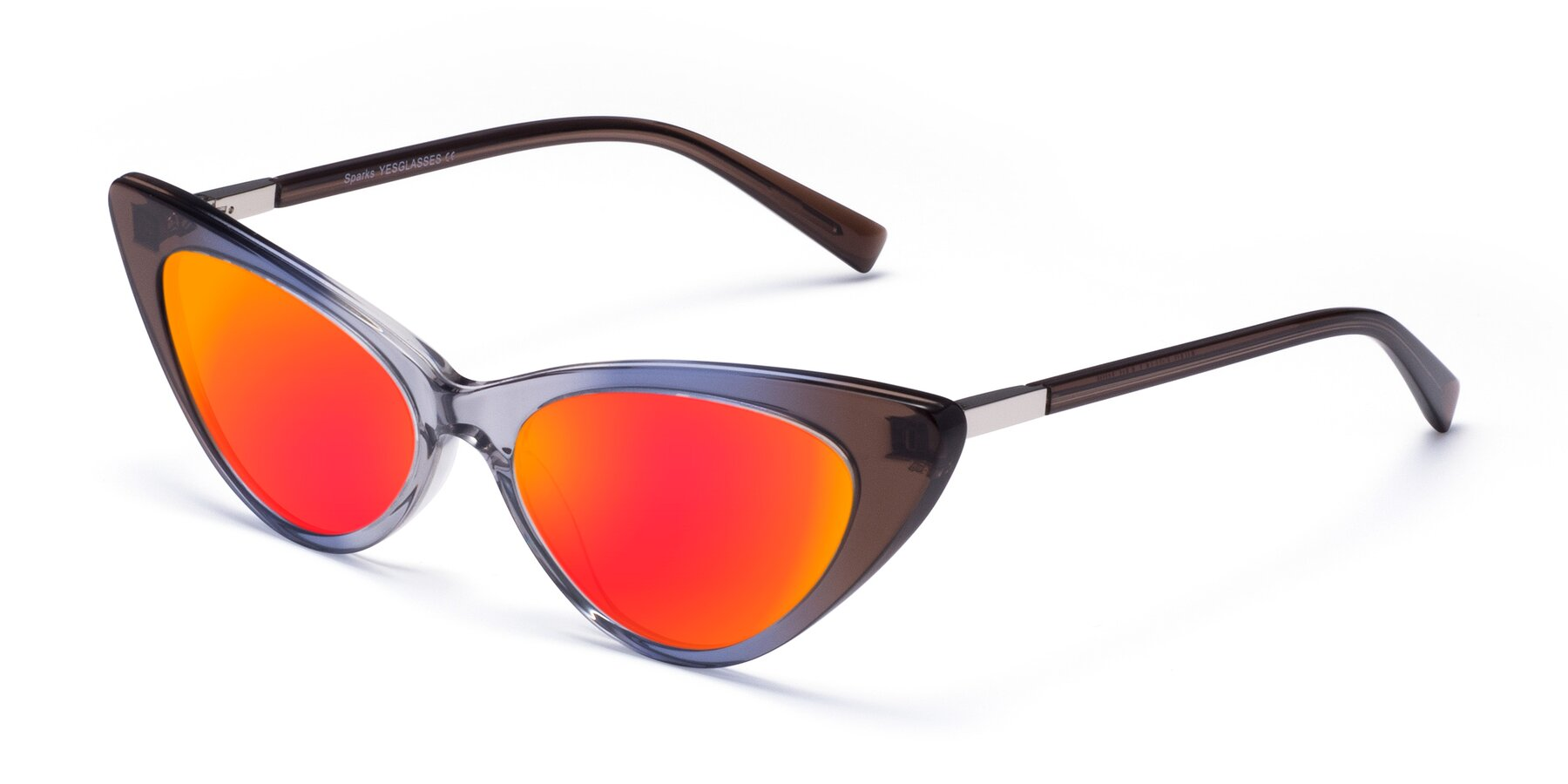Angle of Sparks in Transparent Gradient Brown with Red Gold Mirrored Lenses