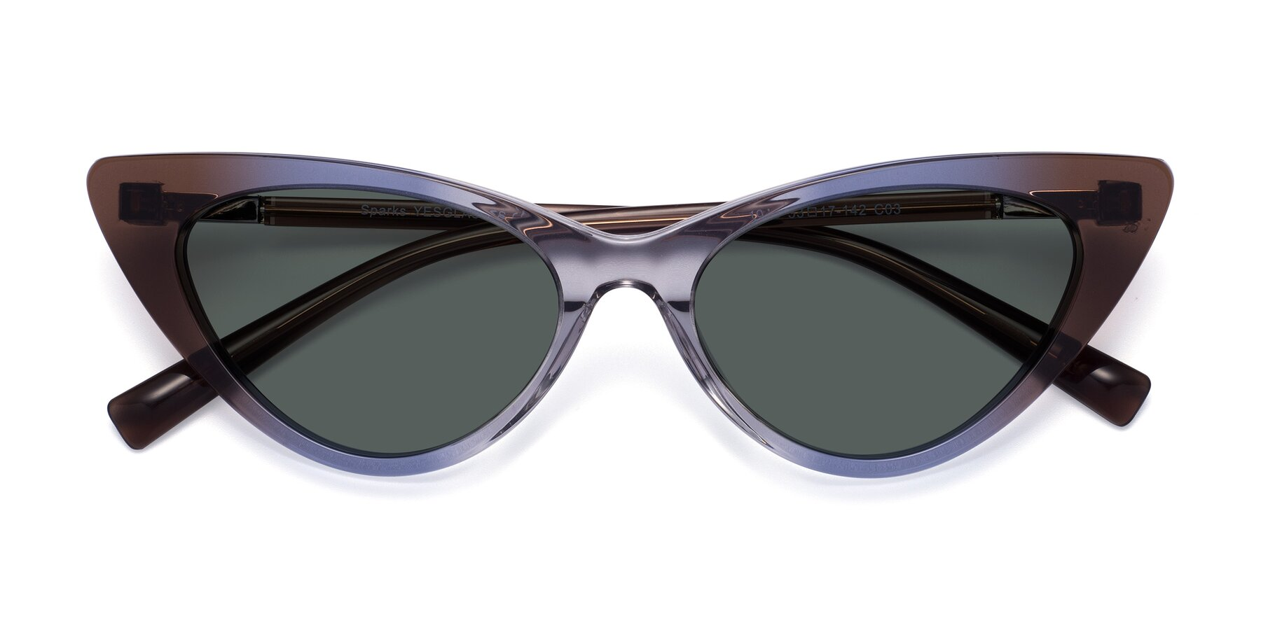 Folded Front of Sparks in Transparent Gradient Brown with Gray Polarized Lenses