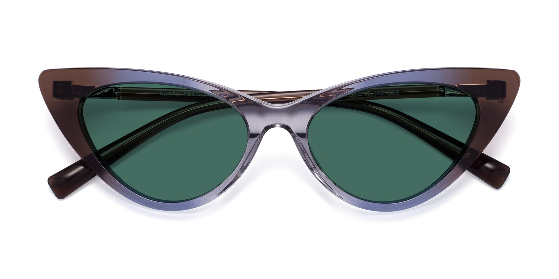 Folded Front of Sparks in Transparent Gradient Brown with Green Polarized Lenses