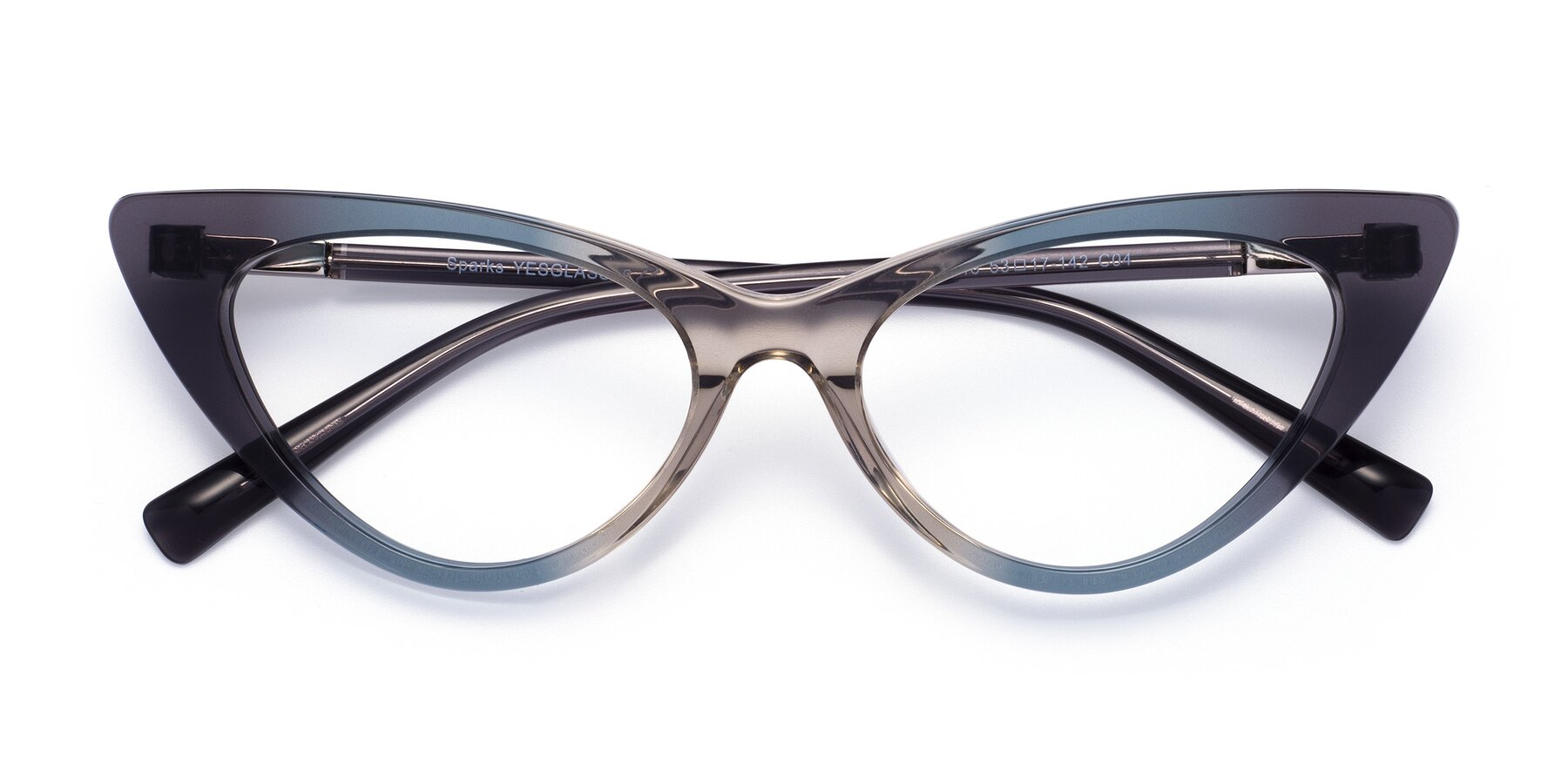 Folded Front of Sparks in Transparent Gradient Cyan with Clear Blue Light Blocking Lenses