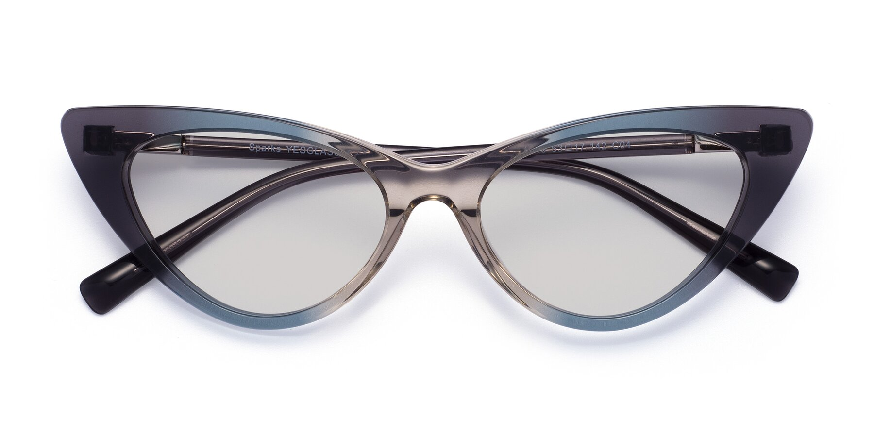 Folded Front of Sparks in Transparent Gradient Cyan with Light Gray Tinted Lenses