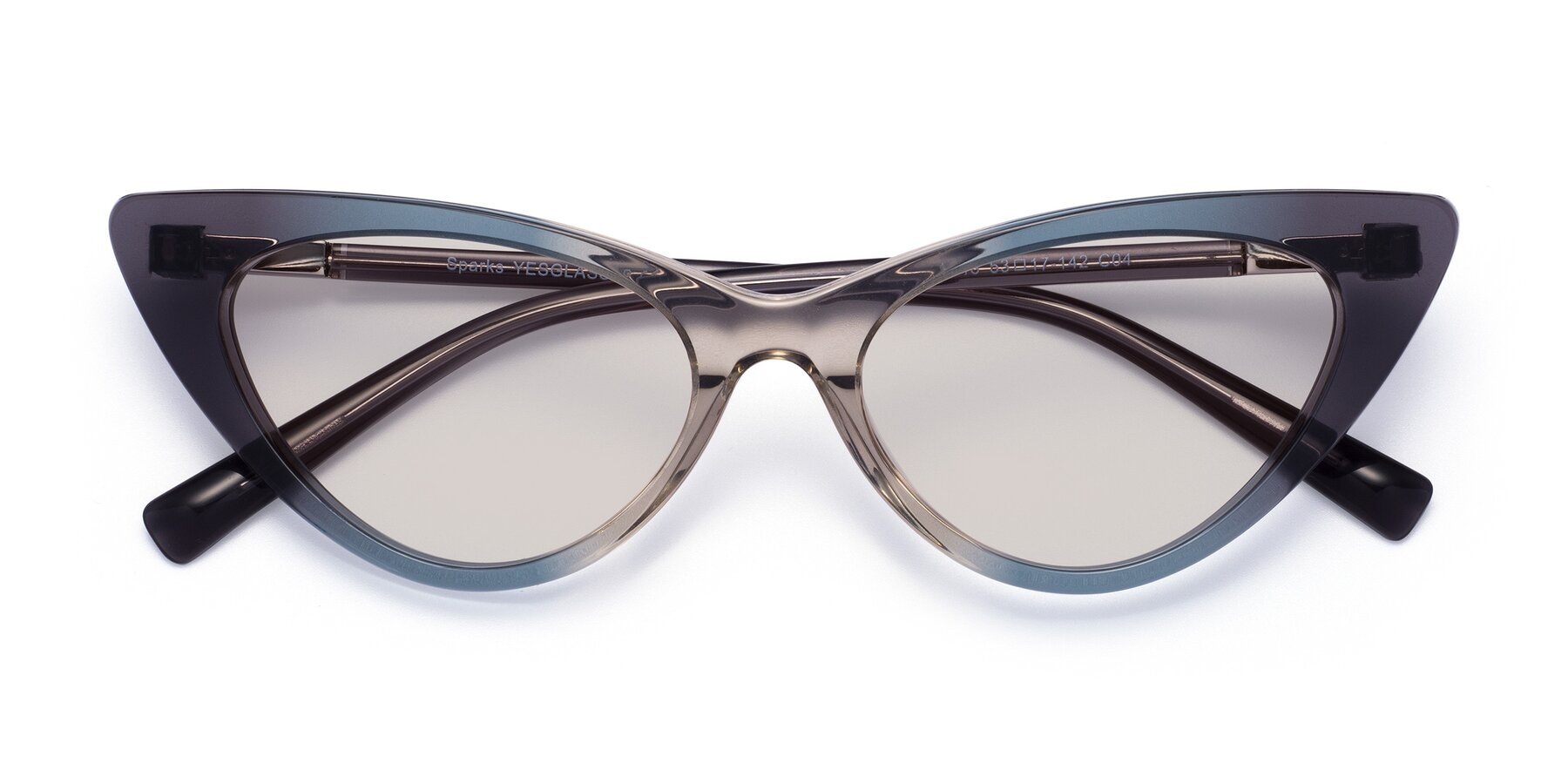 Folded Front of Sparks in Transparent Gradient Cyan with Light Brown Tinted Lenses