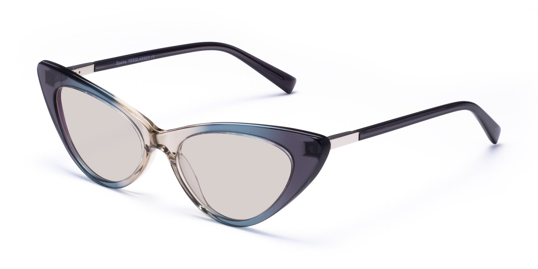 Angle of Sparks in Transparent Gradient Cyan with Light Brown Tinted Lenses