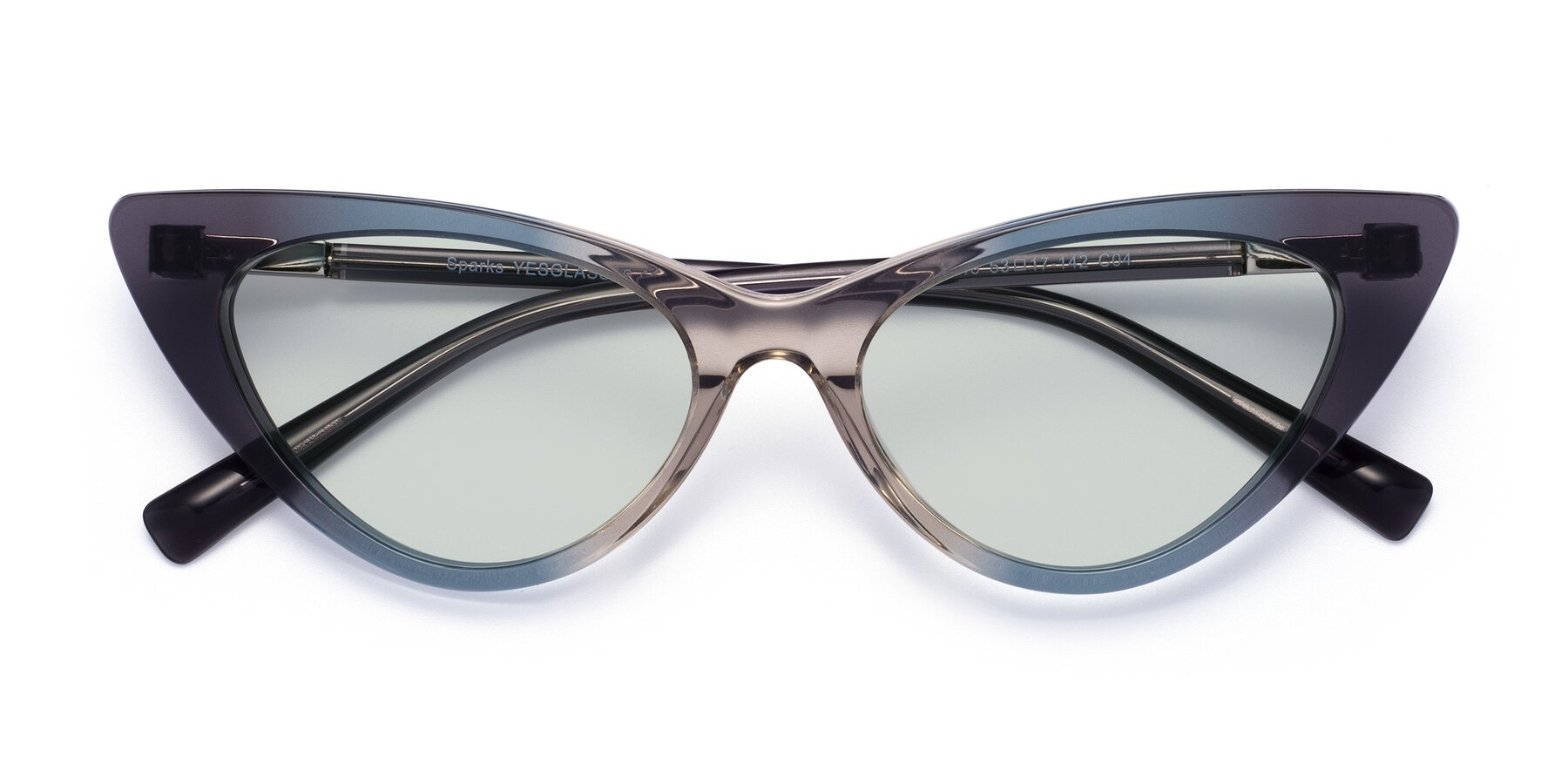 Folded Front of Sparks in Transparent Gradient Cyan with Light Green Tinted Lenses