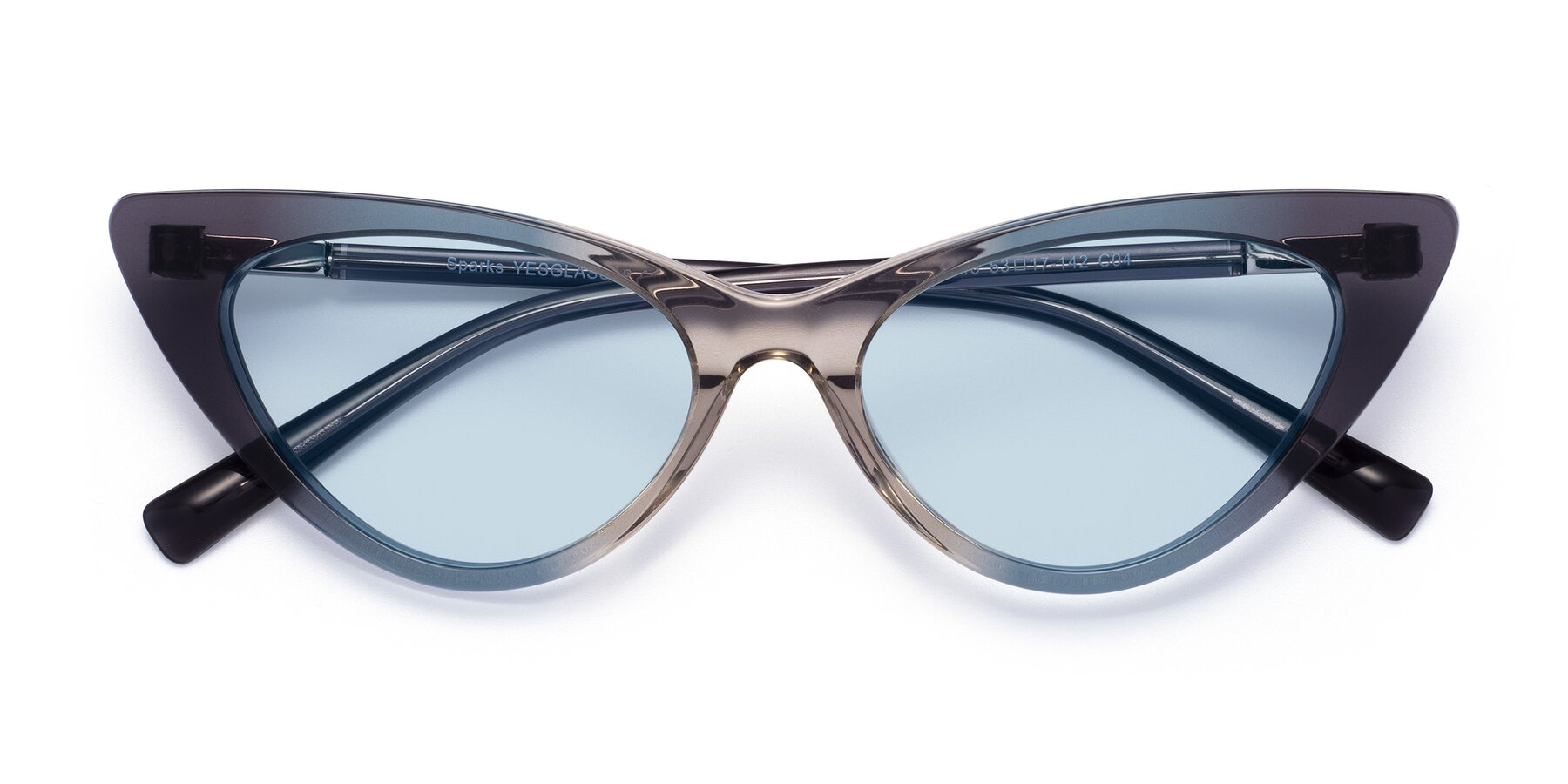 Folded Front of Sparks in Transparent Gradient Cyan with Light Blue Tinted Lenses
