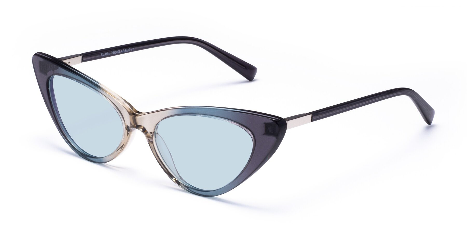Angle of Sparks in Transparent Gradient Cyan with Light Blue Tinted Lenses