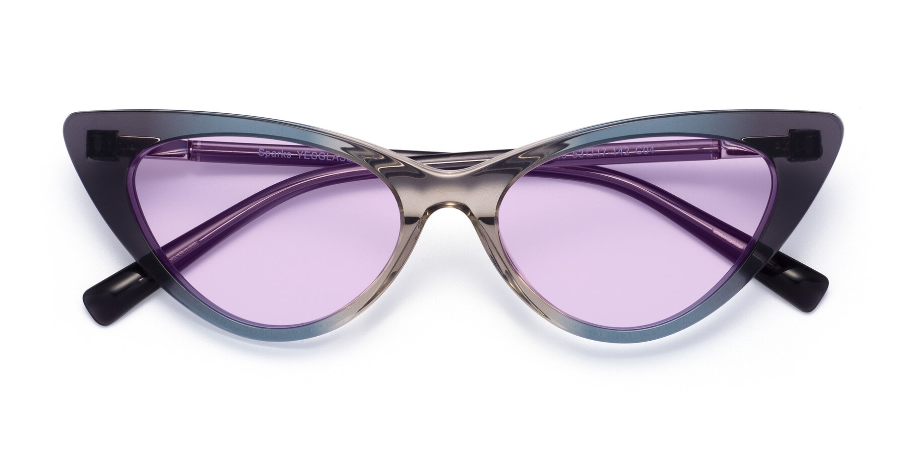 Folded Front of Sparks in Transparent Gradient Cyan with Light Purple Tinted Lenses
