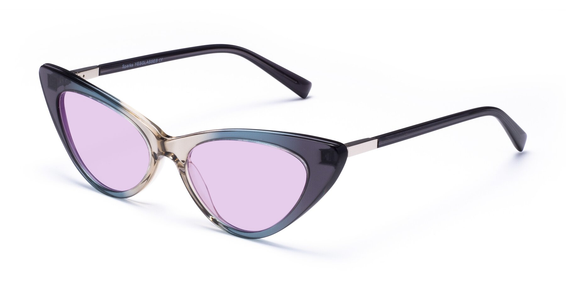 Angle of Sparks in Transparent Gradient Cyan with Light Purple Tinted Lenses