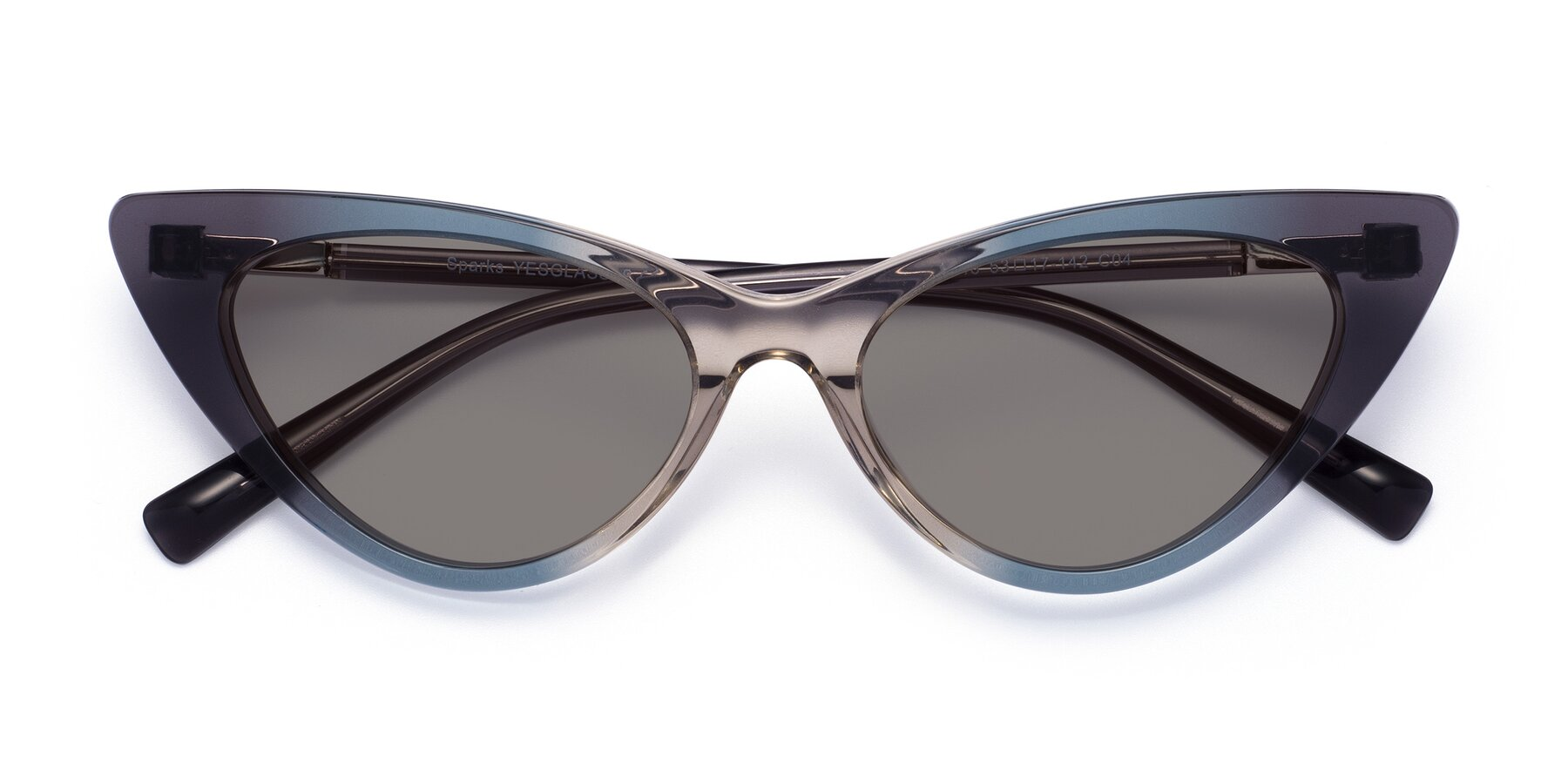 Folded Front of Sparks in Transparent Gradient Cyan with Medium Gray Tinted Lenses