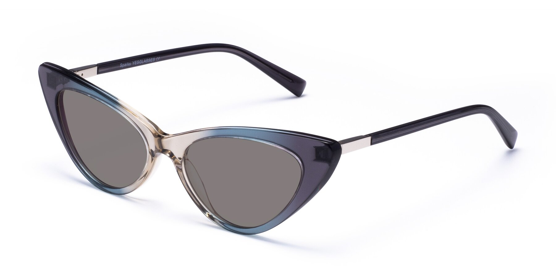 Angle of Sparks in Transparent Gradient Cyan with Medium Gray Tinted Lenses