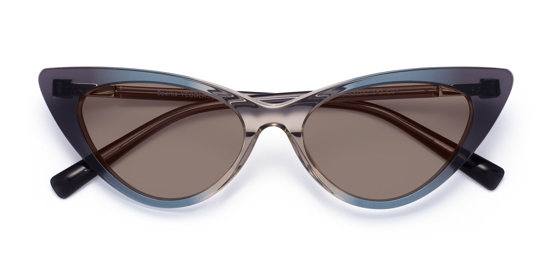 Folded Front of Sparks in Transparent Gradient Cyan with Medium Brown Tinted Lenses