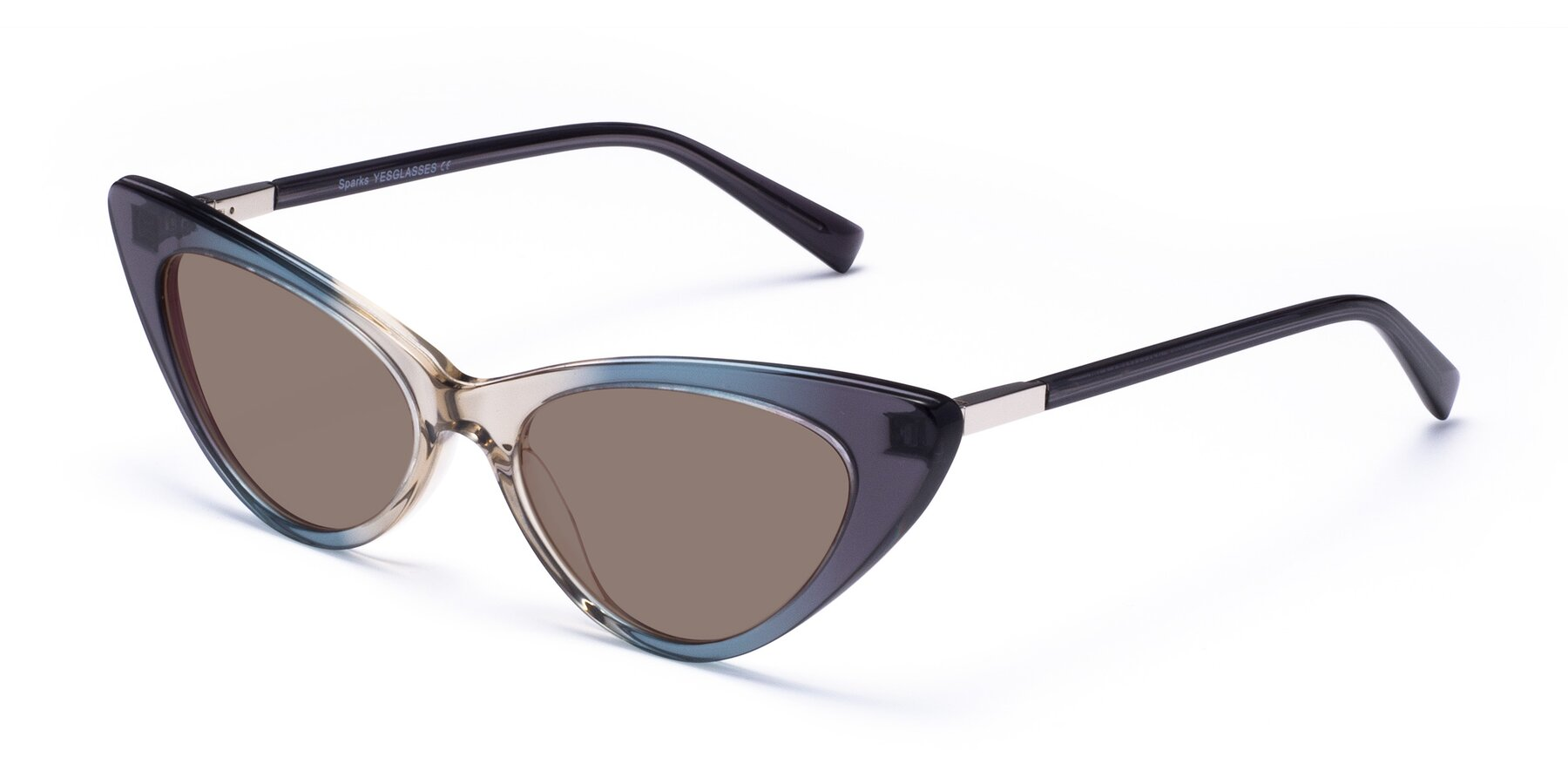 Angle of Sparks in Transparent Gradient Cyan with Medium Brown Tinted Lenses