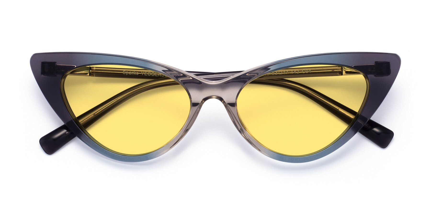 Folded Front of Sparks in Transparent Gradient Cyan with Medium Yellow Tinted Lenses