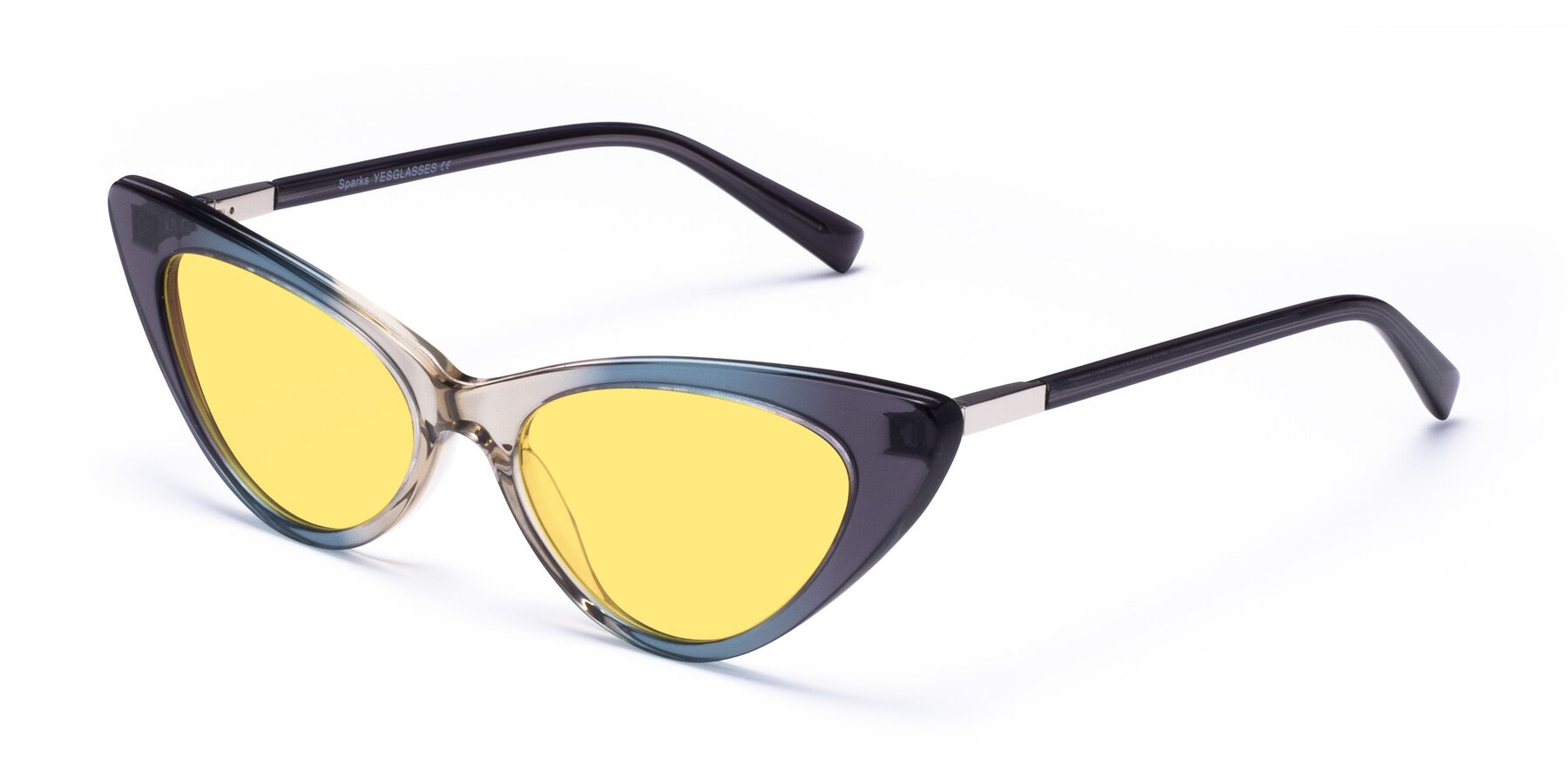 Angle of Sparks in Transparent Gradient Cyan with Medium Yellow Tinted Lenses