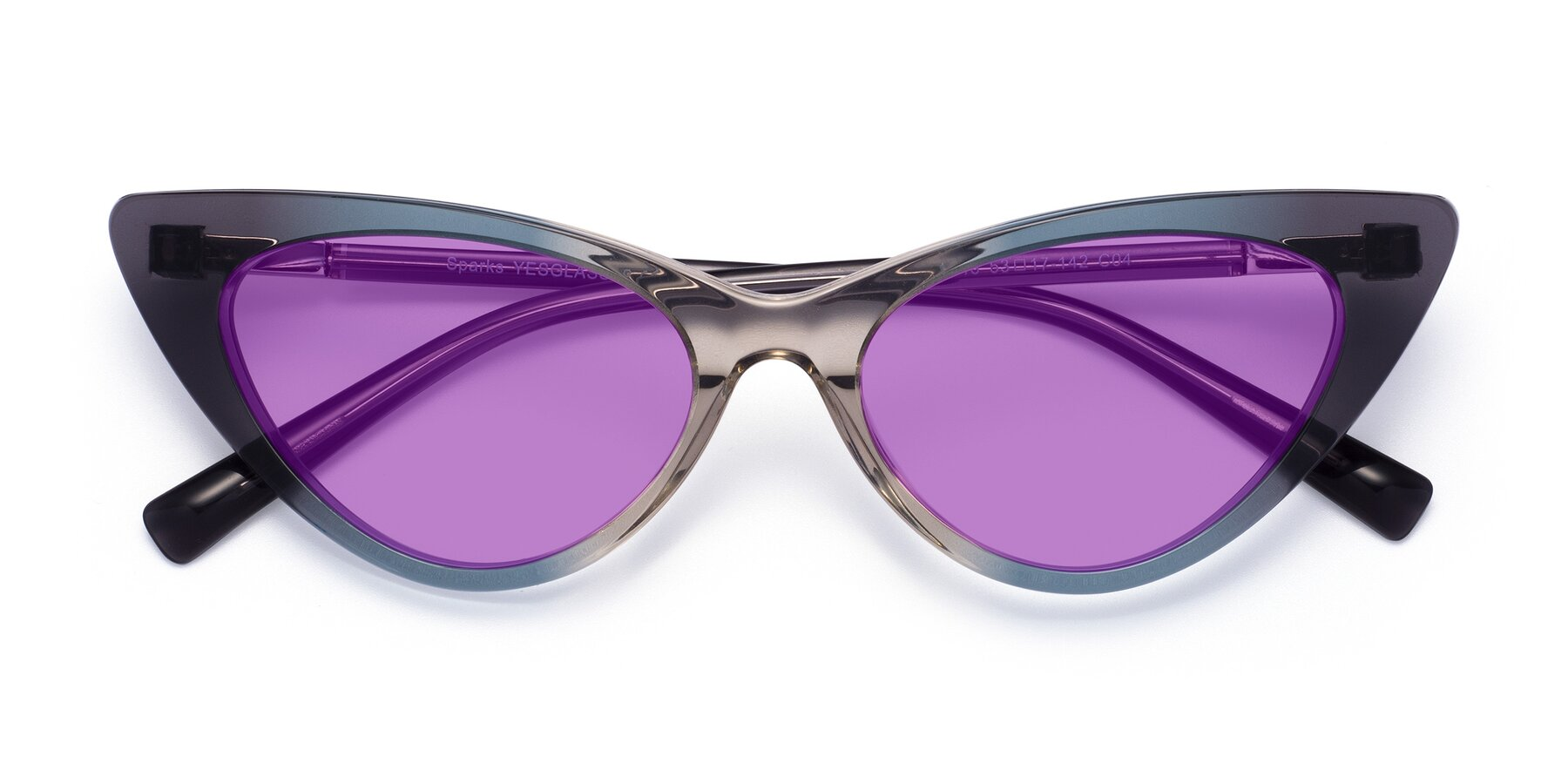 Folded Front of Sparks in Transparent Gradient Cyan with Medium Purple Tinted Lenses