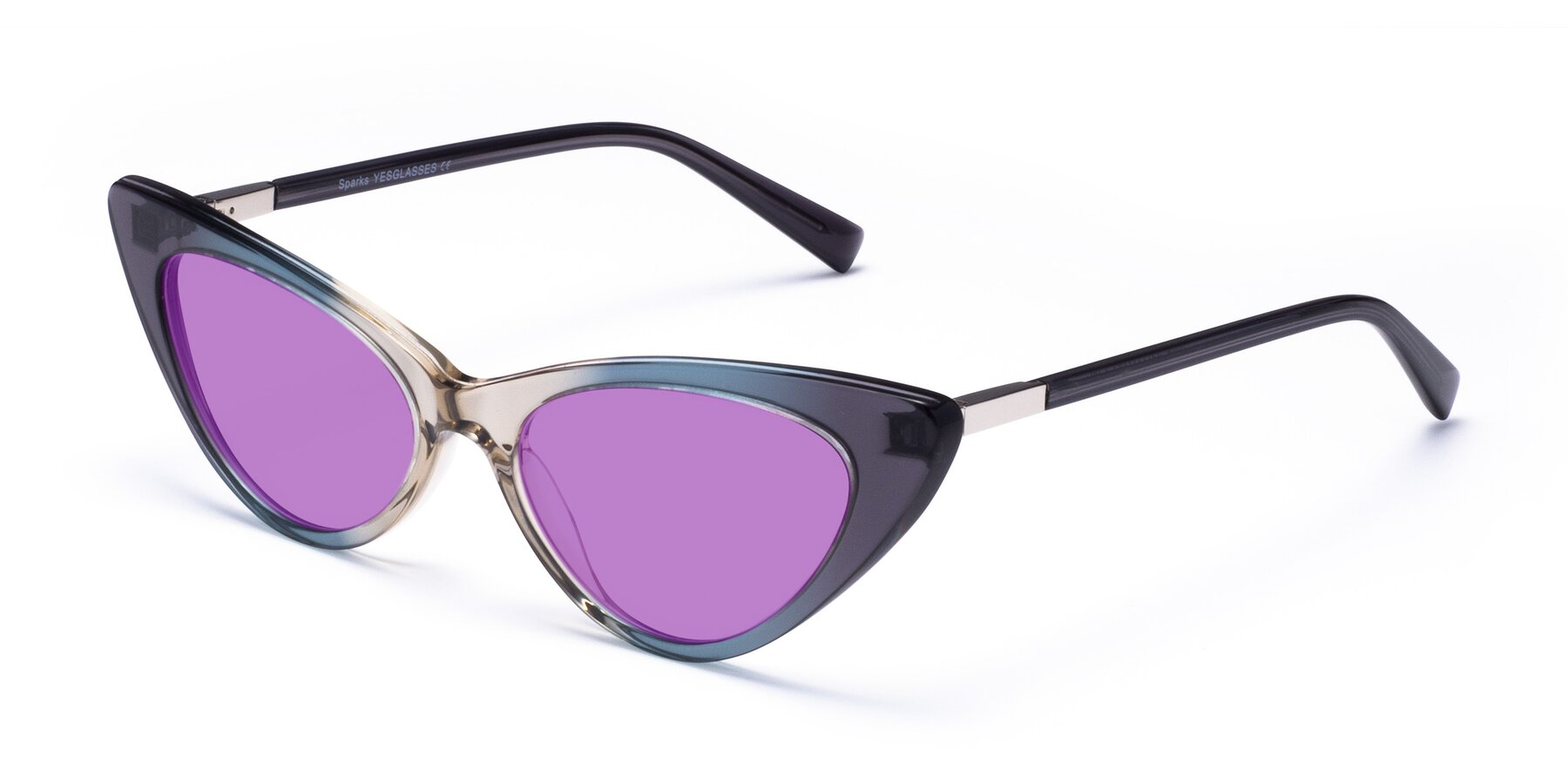 Angle of Sparks in Transparent Gradient Cyan with Medium Purple Tinted Lenses