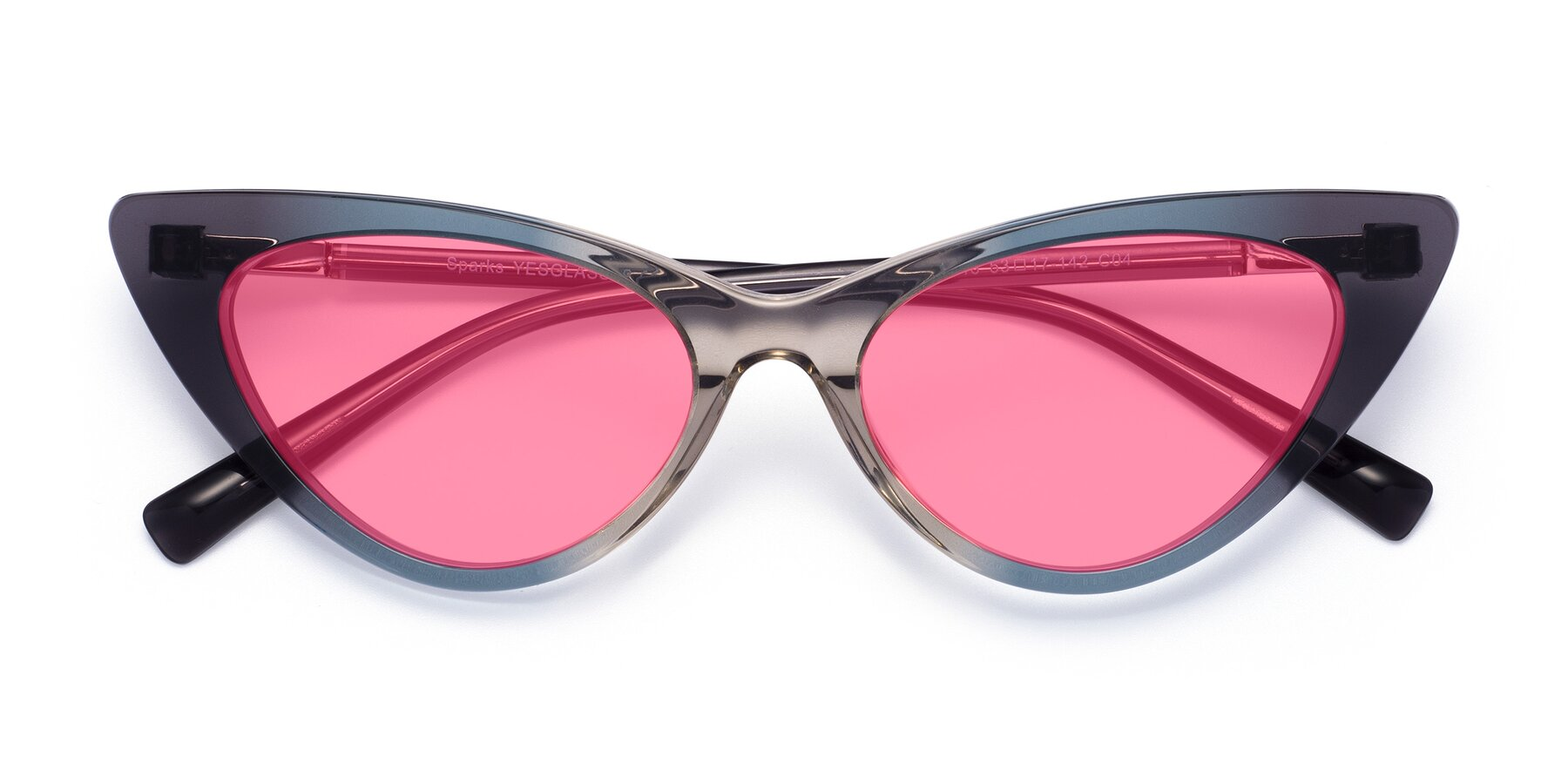 Folded Front of Sparks in Transparent Gradient Cyan with Pink Tinted Lenses