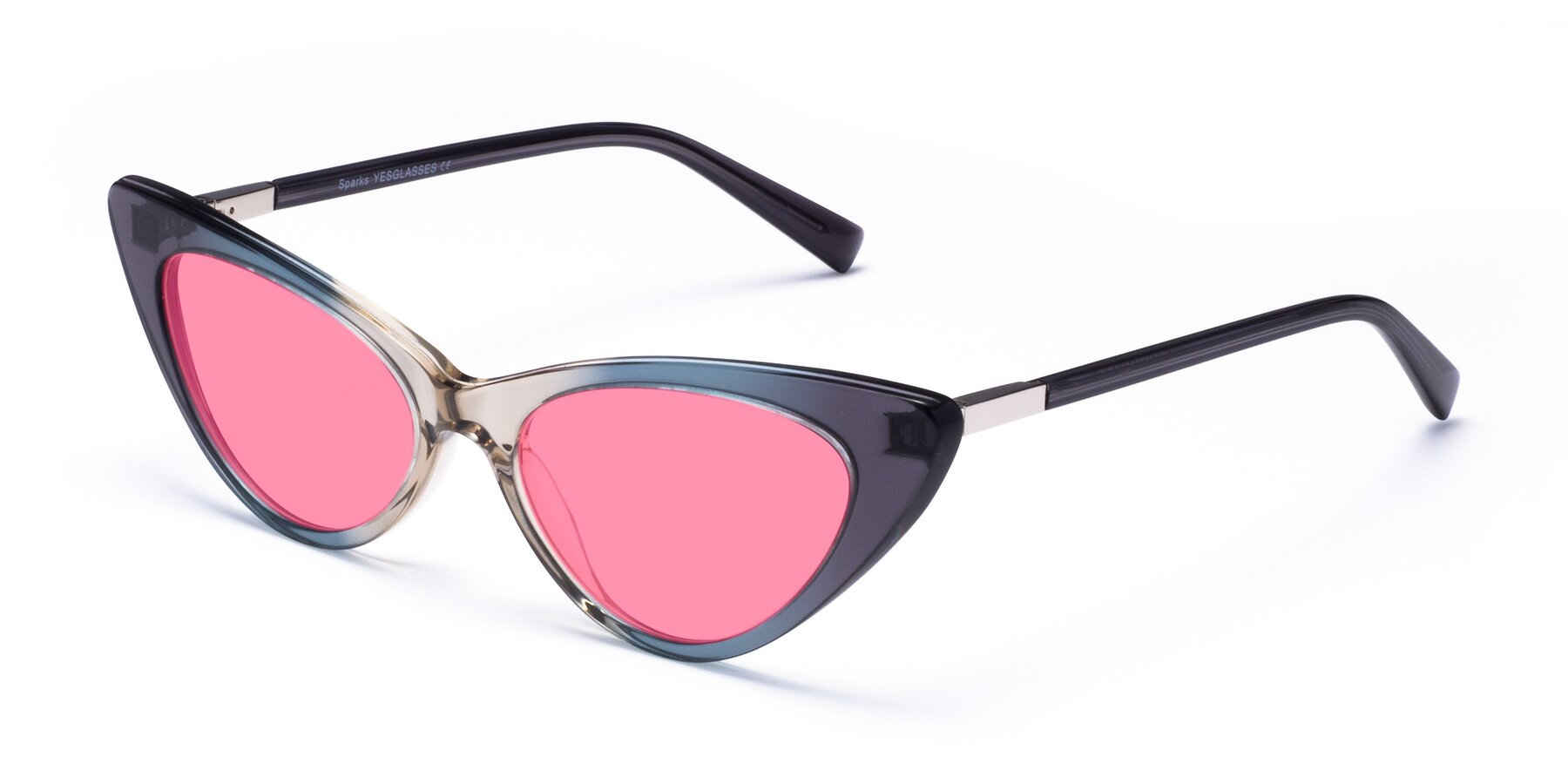 Angle of Sparks in Transparent Gradient Cyan with Pink Tinted Lenses