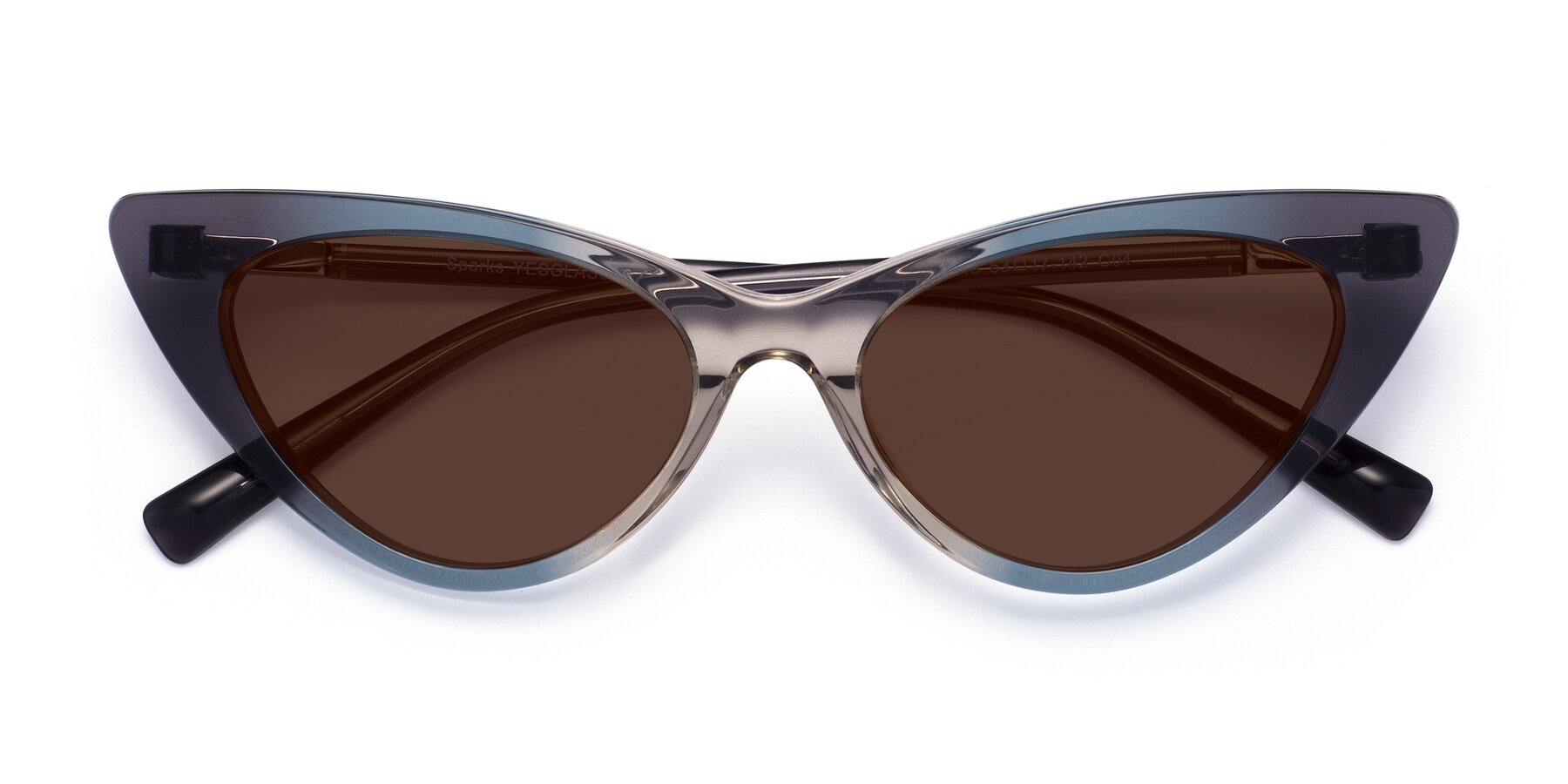 Folded Front of Sparks in Transparent Gradient Cyan with Brown Tinted Lenses