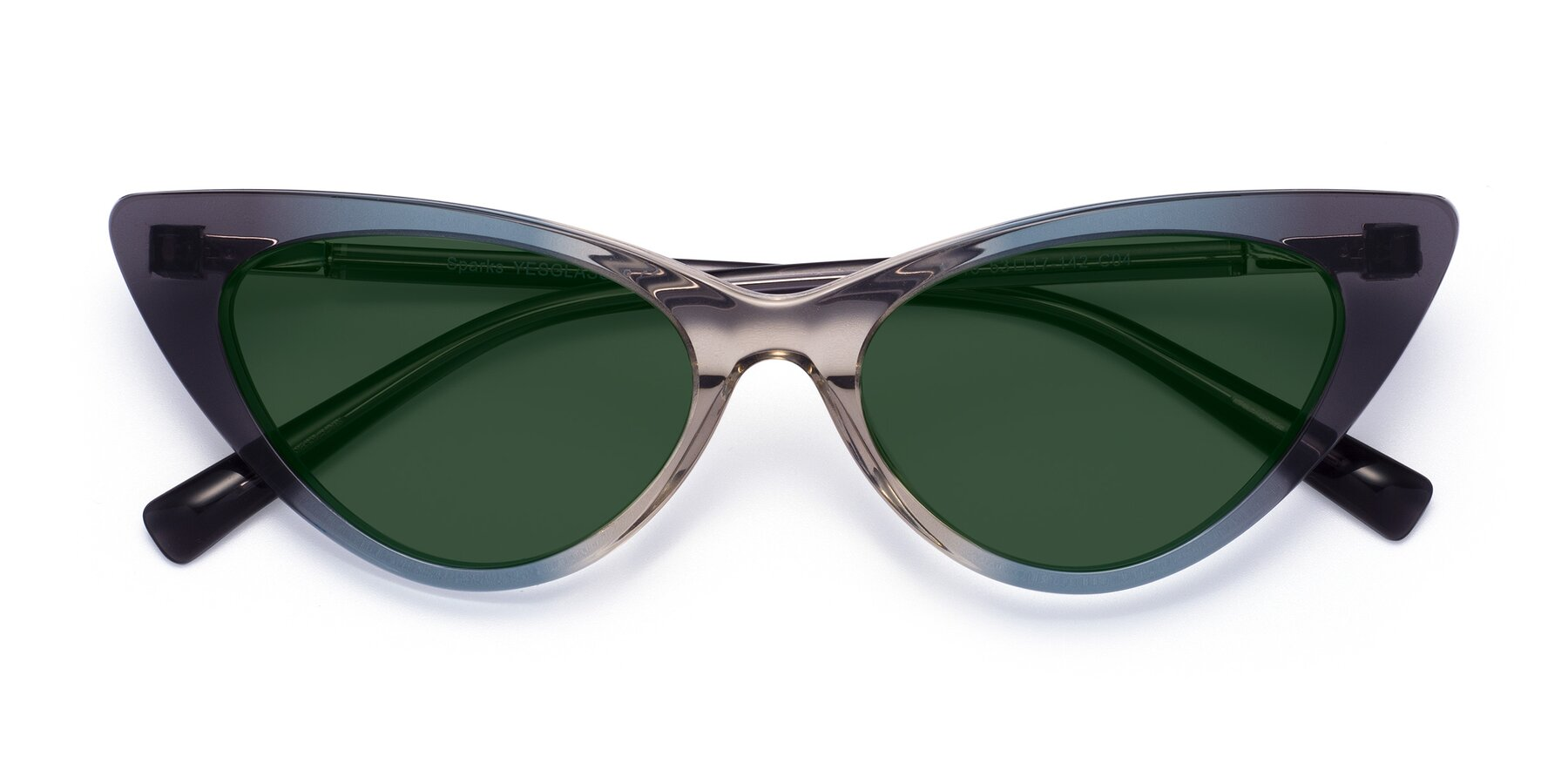Folded Front of Sparks in Transparent Gradient Cyan with Green Tinted Lenses